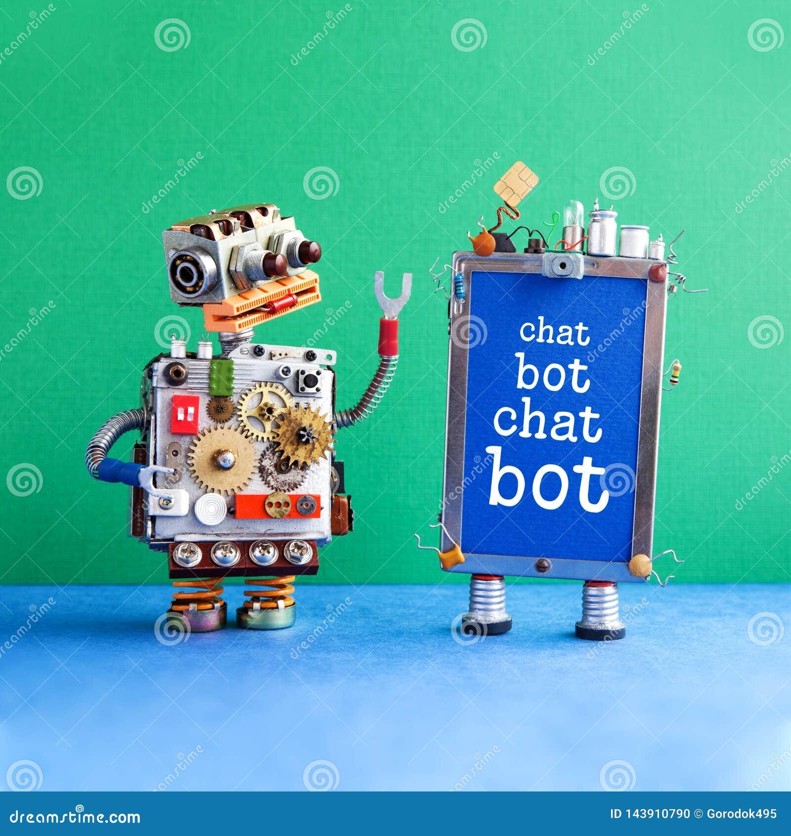 Robot del diseño y artilugio creativos del smartphone con Bot de la charla del mensaje en la pantalla azul Cartel de la inteligen