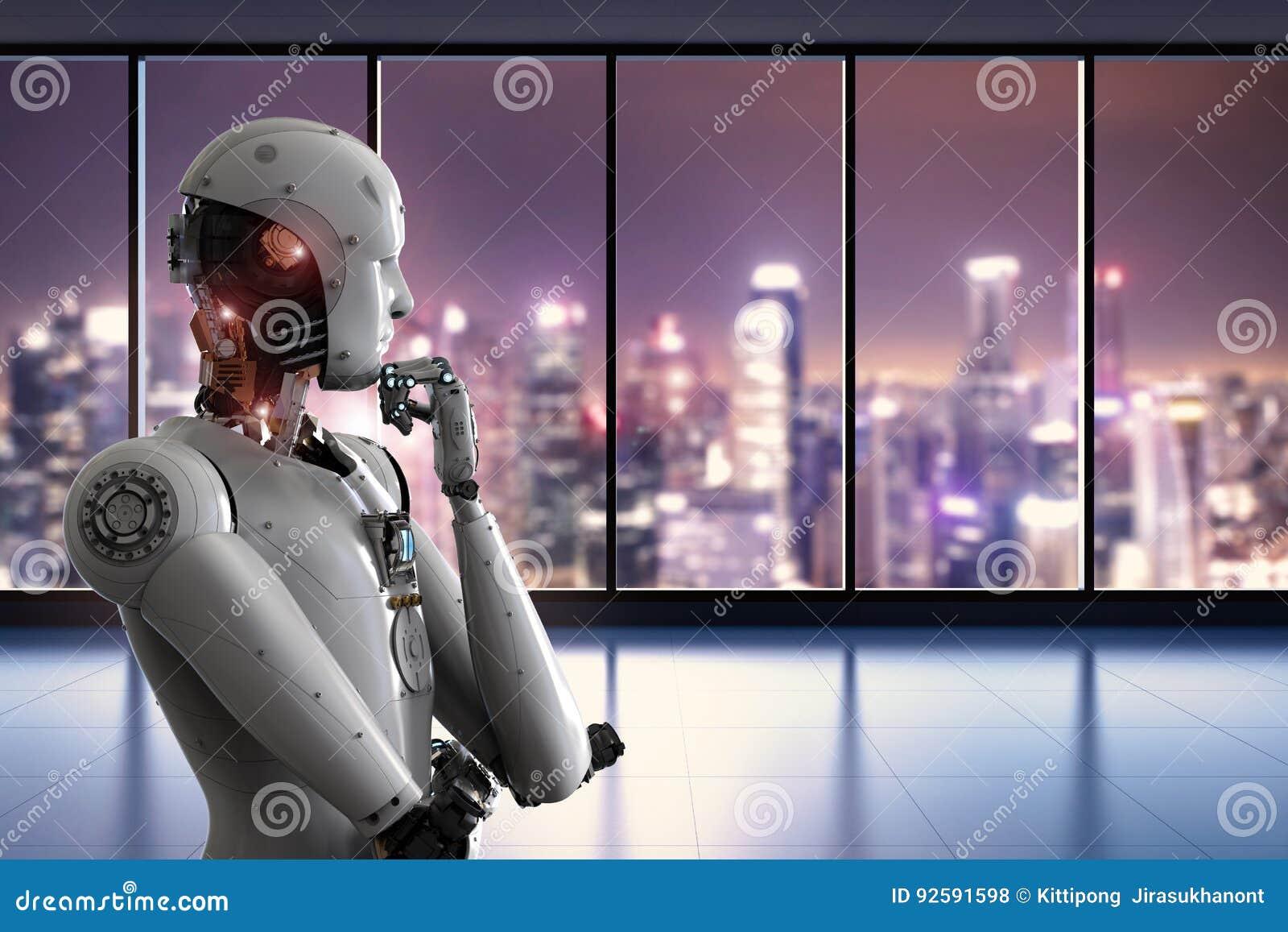 Robot Di Android Che Pensa Nell 39 Ufficio Illustrazione Di