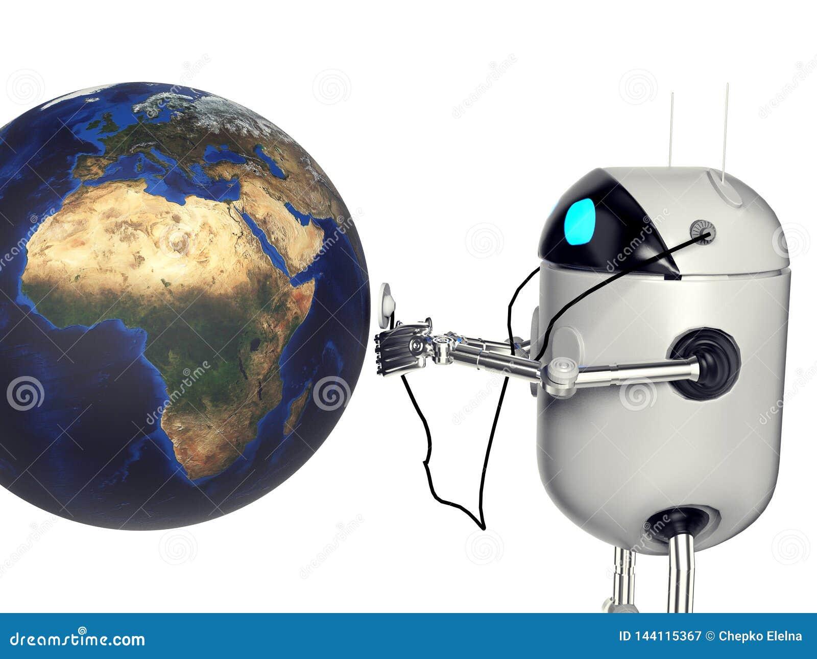 Robot die medik aan de 3d aarde de luisteren, geeft terug