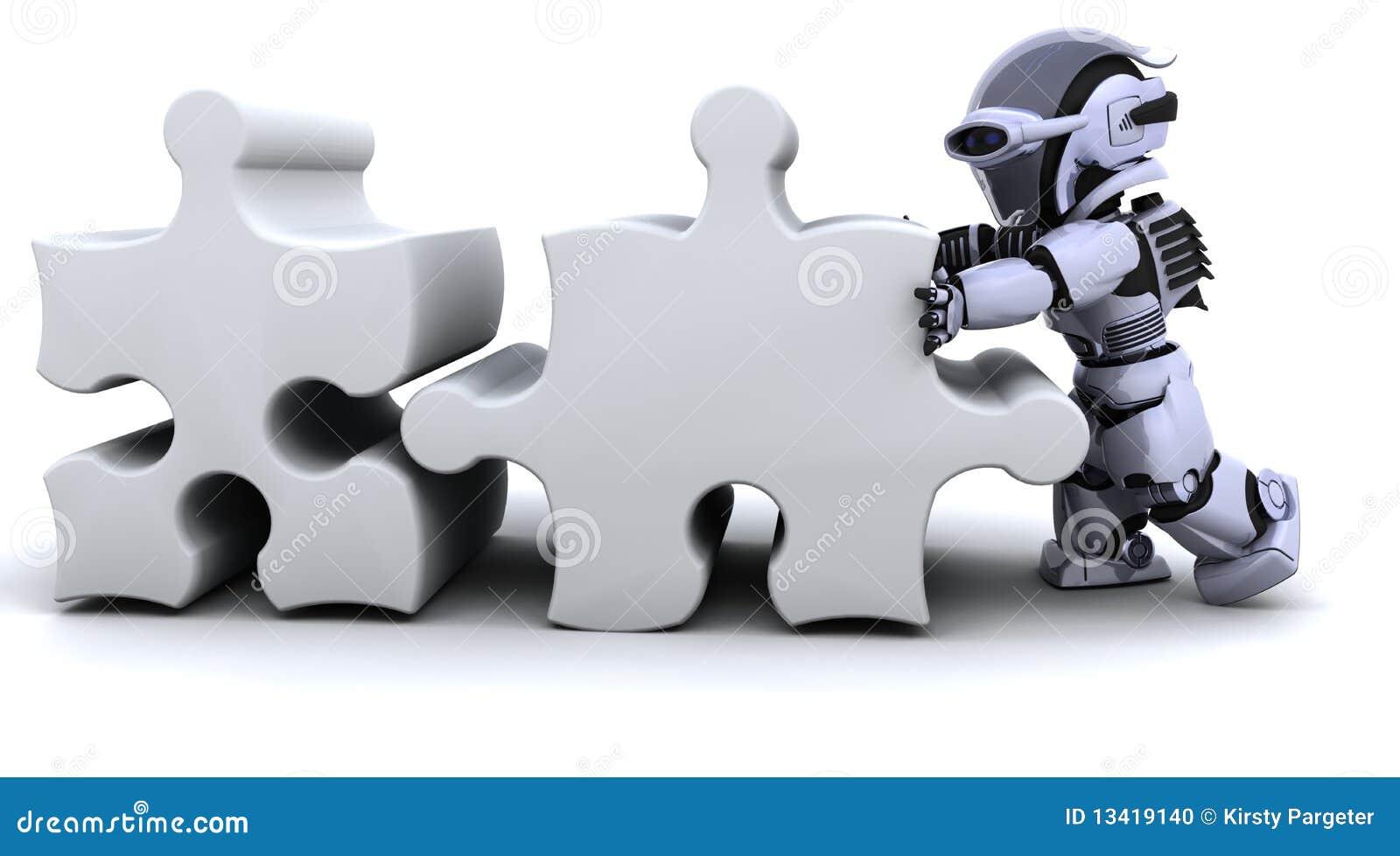 Robot die puzzel oplost