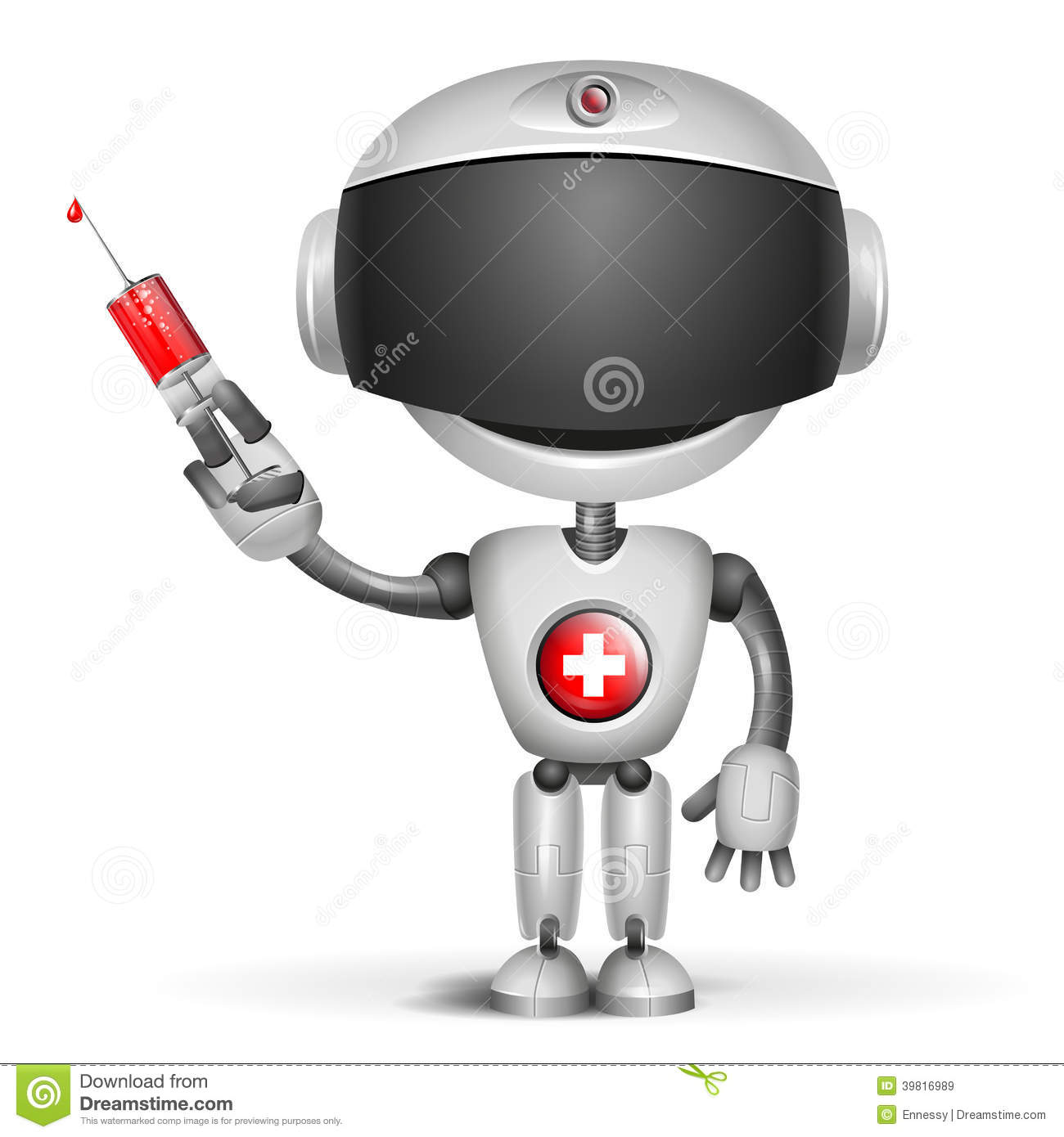 Robot Doctor holding medical injection syringe.