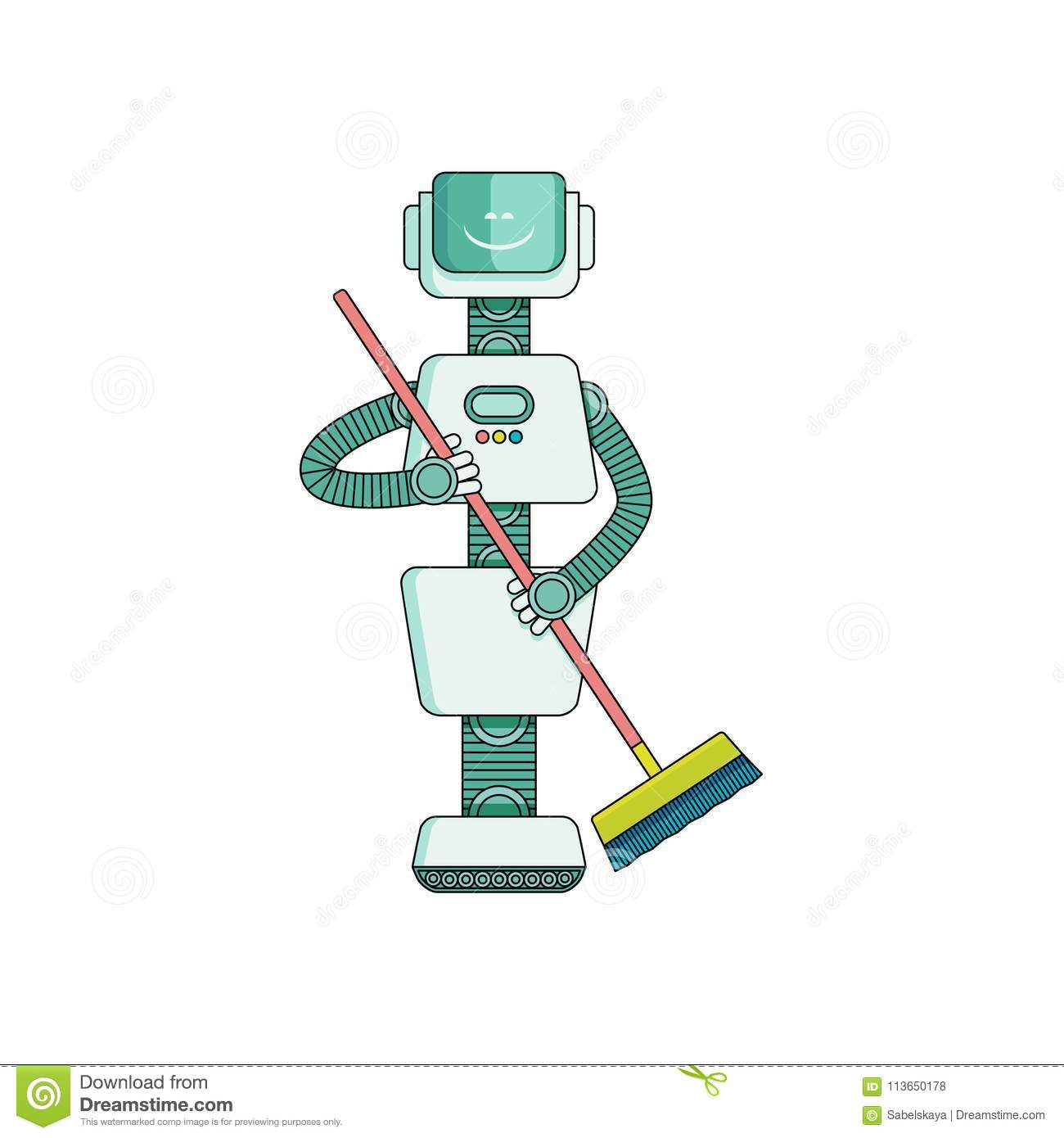 robot doing housework on cleaning house