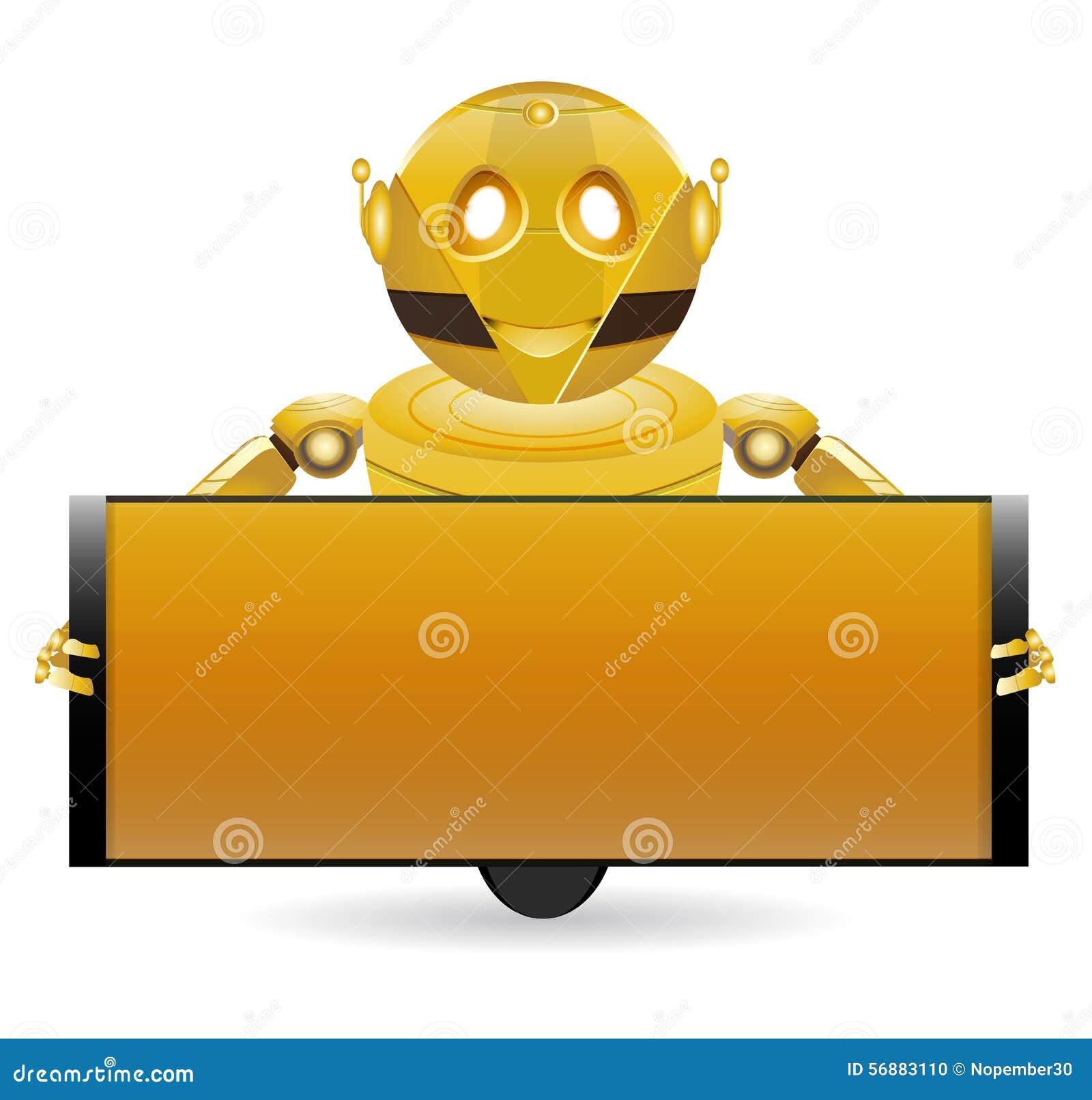 Robot dorato con la casella di testo 2