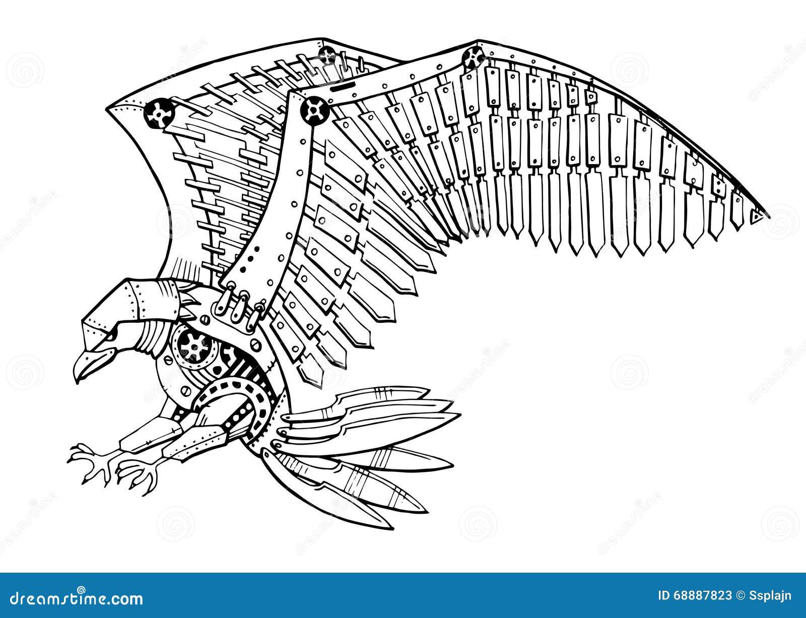 Eagle tattoo line drawing