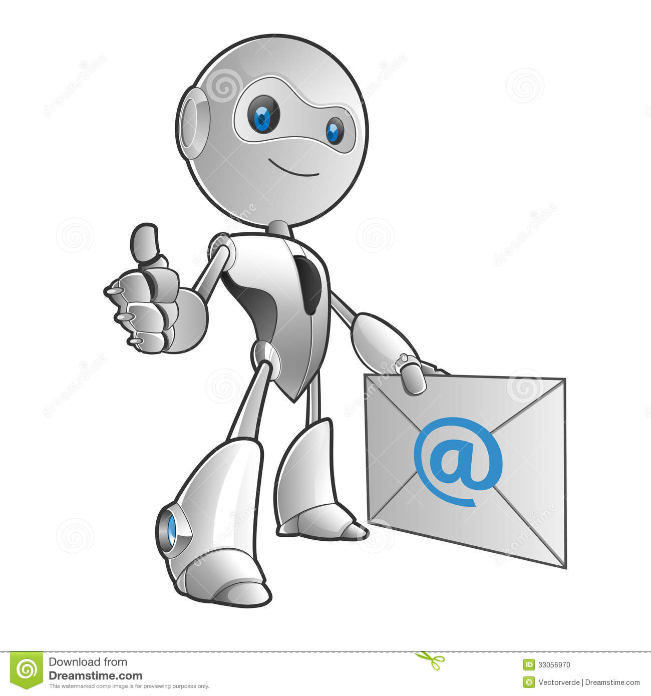 robot email stock vector  illustration of robot  letter