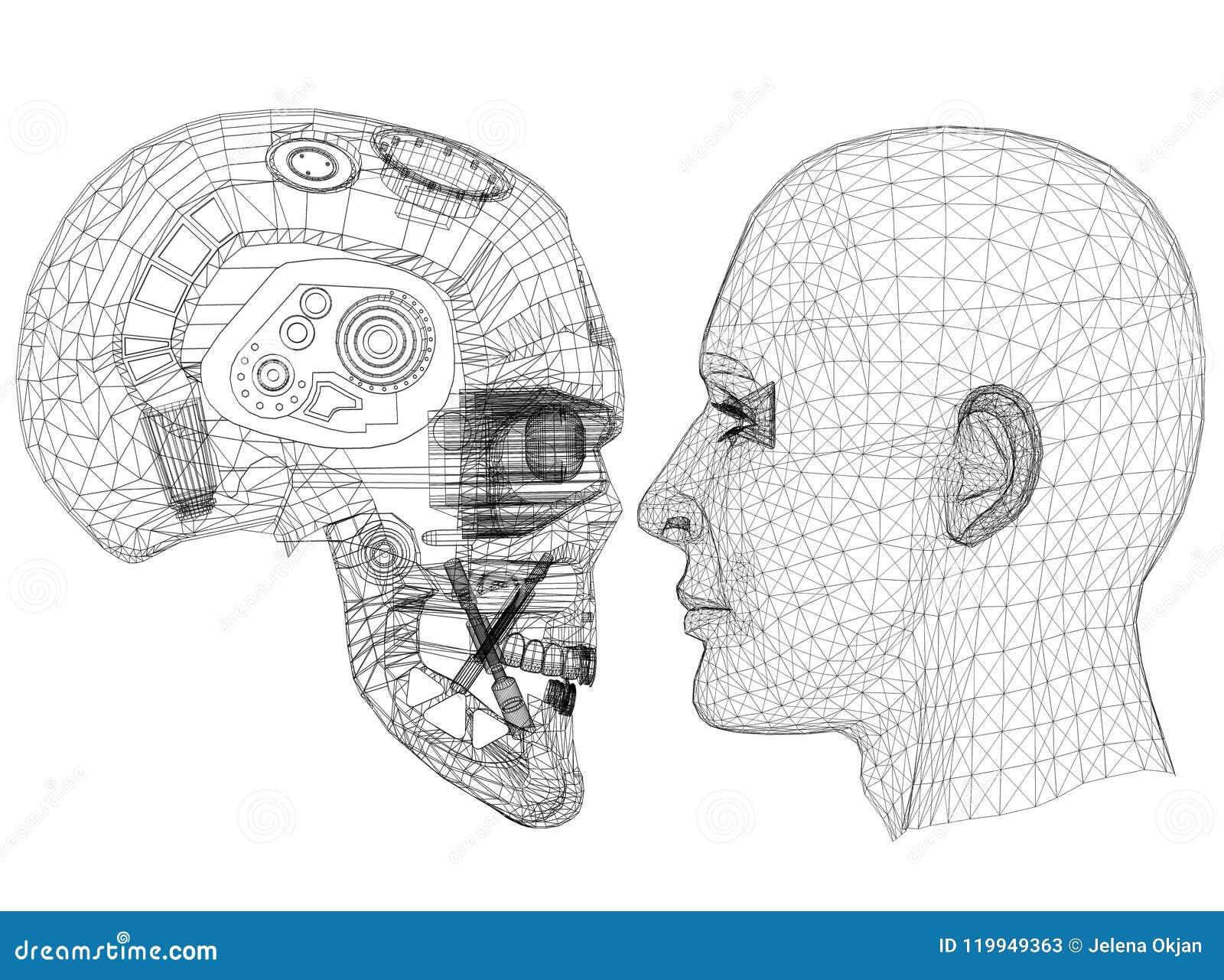 Robot en Menselijk Hoofdontwerp - Architect geïsoleerd Blueprint -