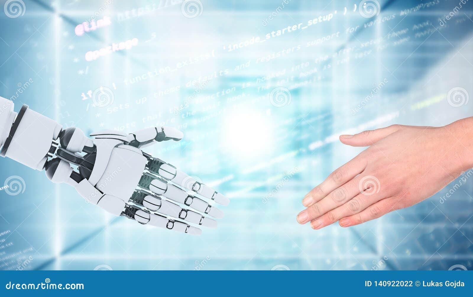 Robot en mensenhanden die die gebaar tonen, op wit wordt geïsoleerd