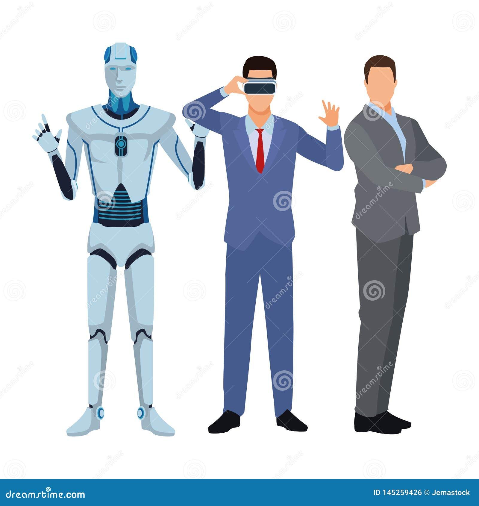 Robot et hommes d affaires de humano?de