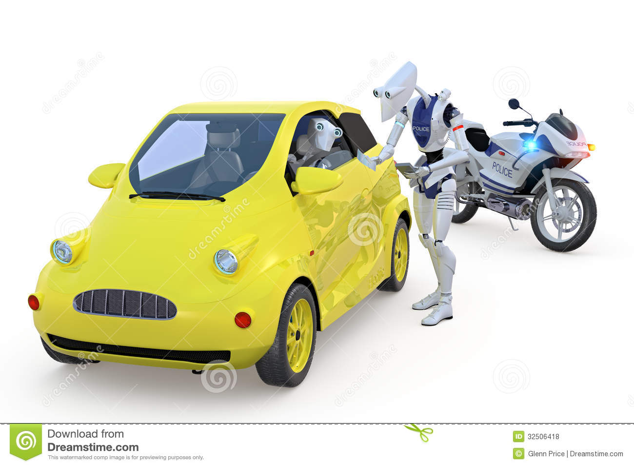 Robot Getting A Speeding Ticket Stock Illustration