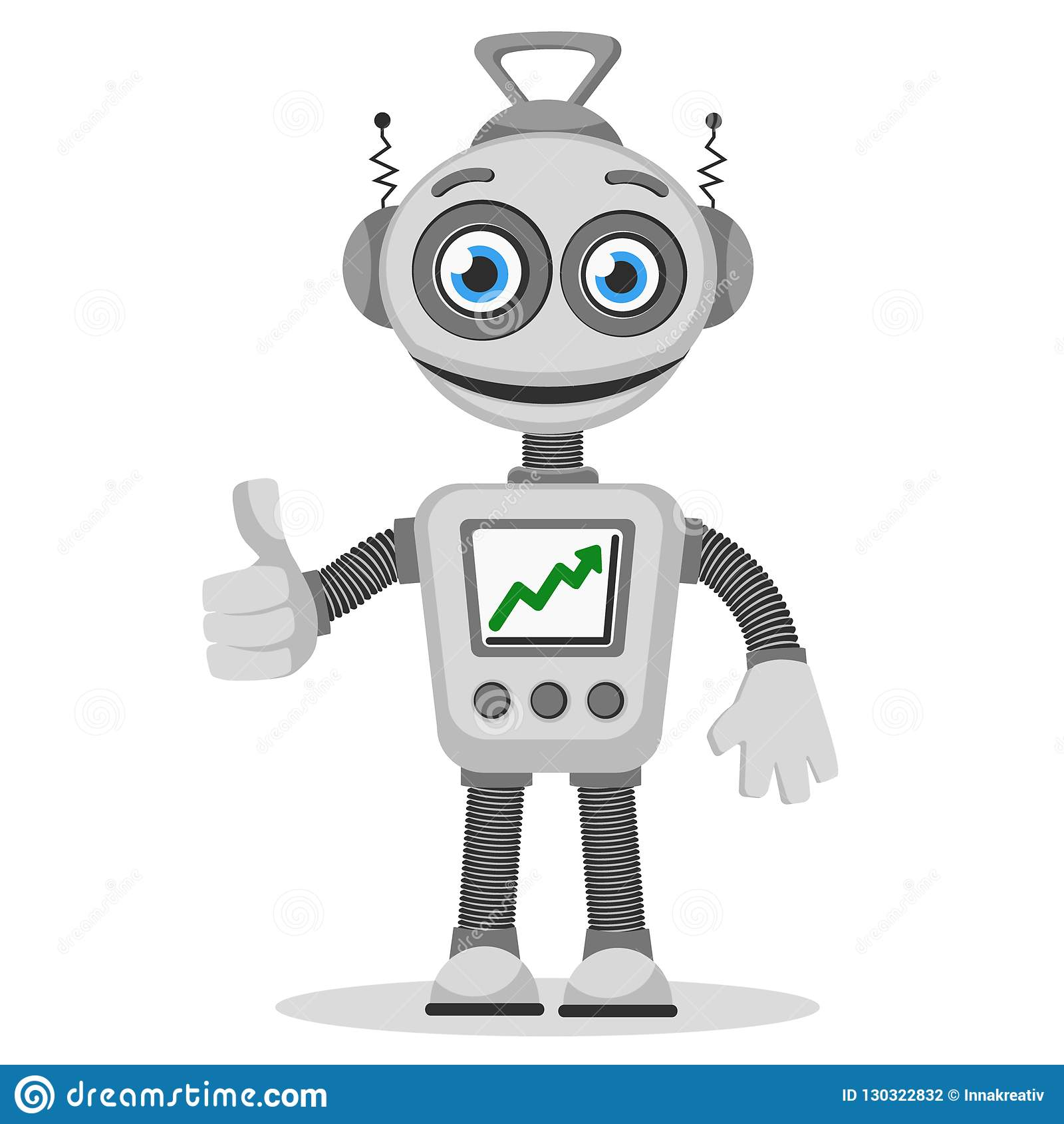 The robot with the graph up on the screen shows like