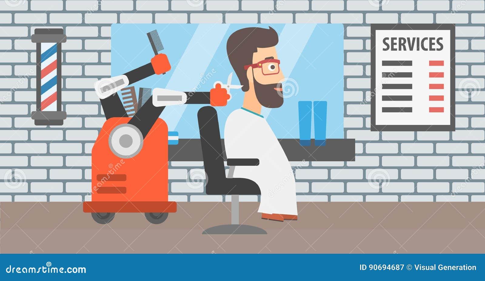 iRoboti Hairdresser Making Haircut To A Hipster Man Stock