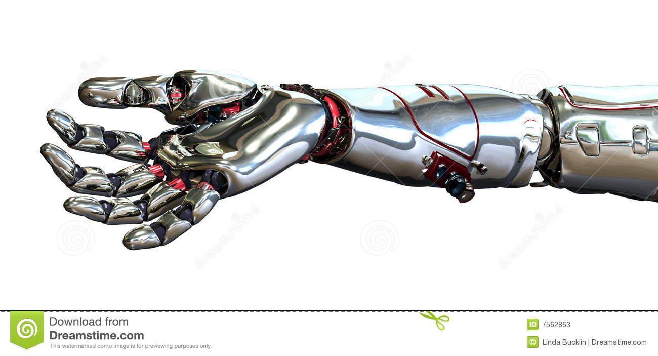 3D render of a robot hand, positioned as if it is holding an object.