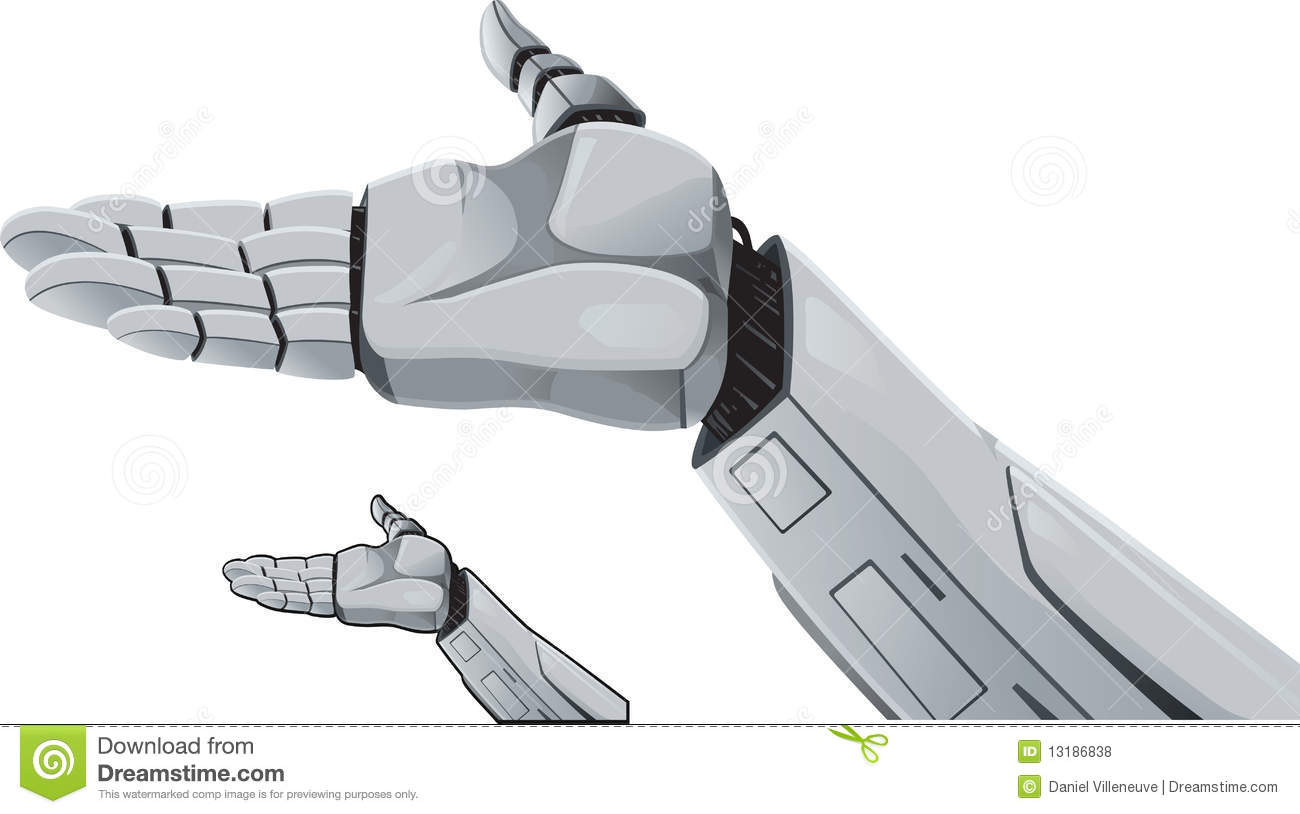 Robot Hand Demonstrating. Royalty Free Stock Photos - Image: 13186838