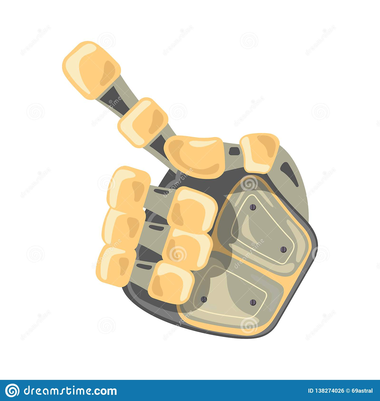 Robot hand. Hand gestures. One number. Pointer. Artificial Intelligence futuristic design concept. Vector illustration.