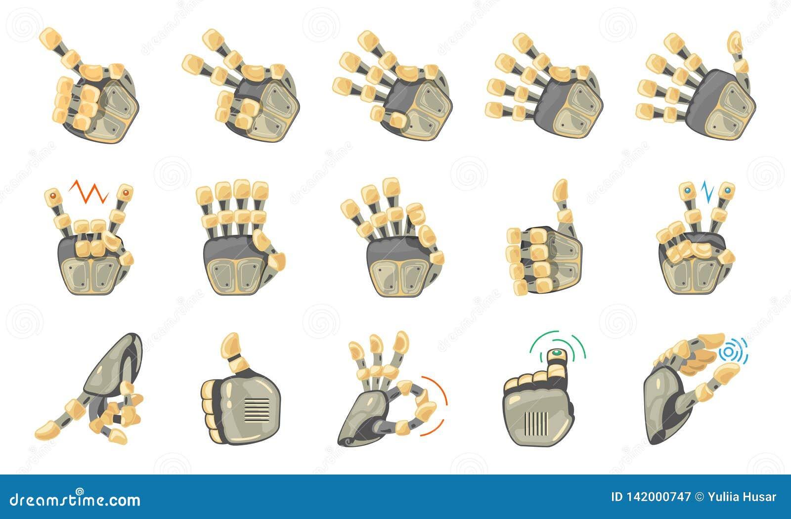 Robot hand gestures. Robotic hands. Mechanical technology machine engineering symbol. Hand gestures set. Big robot arm.
