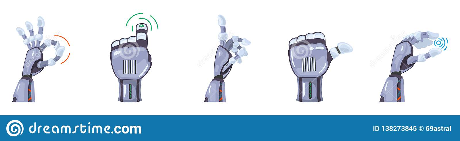 Robot hand gestures. Robotic hands. Mechanical technology machine engineering symbol Hand gestures set Futuristic design
