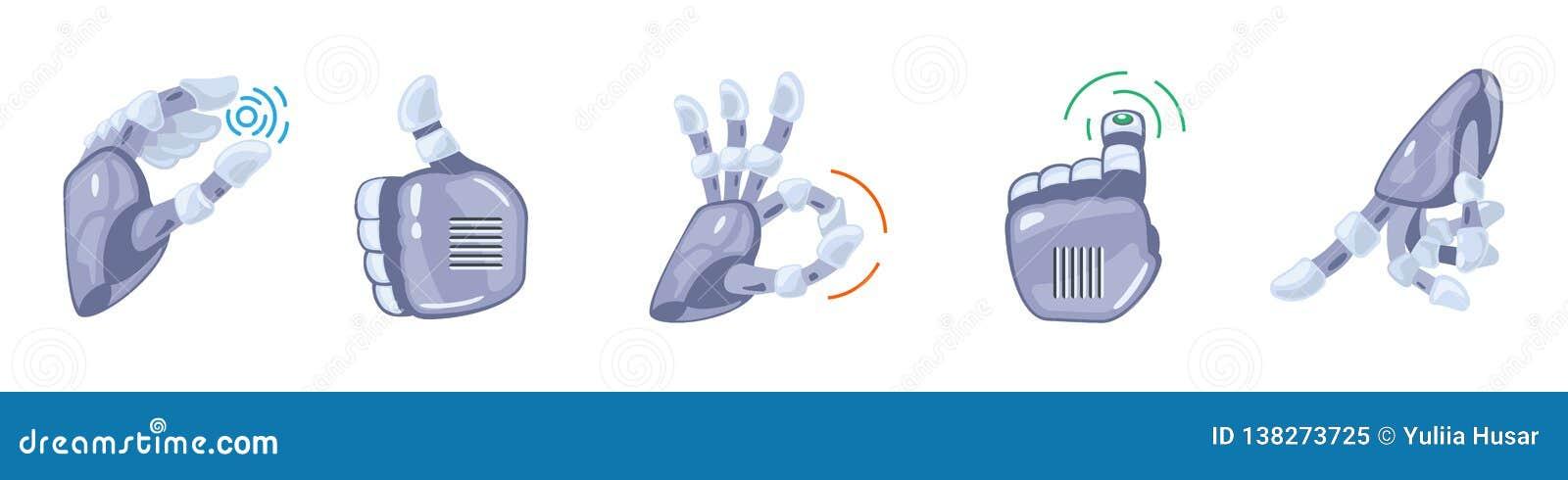 Robot hand gestures. Robotic hands. Mechanical technology machine engineering symbol. Hand gestures set. Signs.