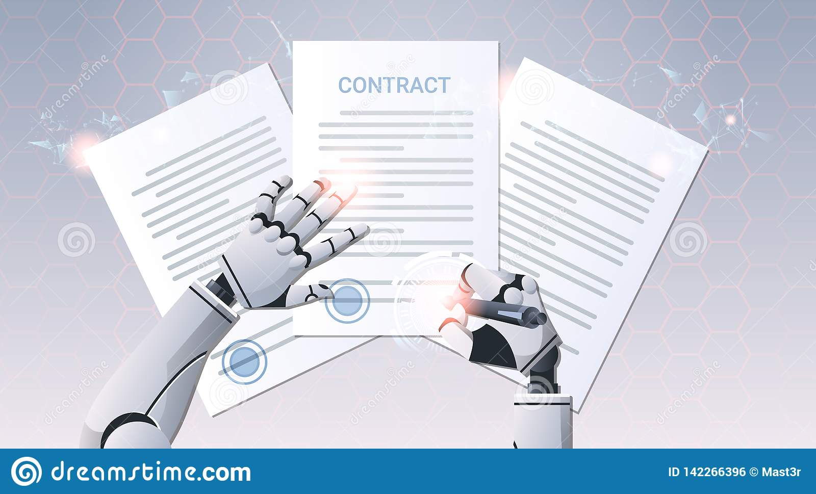 Robot hand holding pen signature document signing up contract humanoid sign agreement top angle view artificial