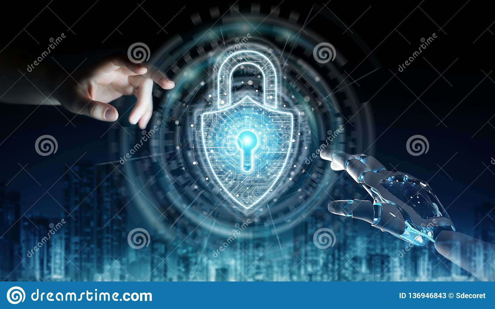 Robot hand and human hand touching digital padlock security 3D rendering