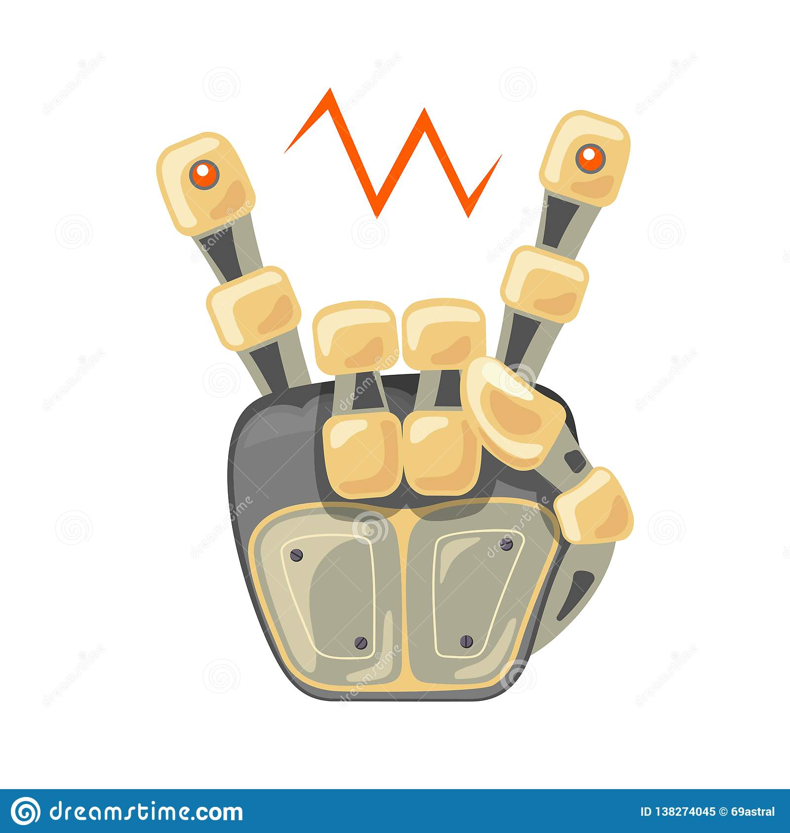 Robot hand. Mechanical technology machine engineering symbol. Cool, good icon. Rock music. Peace. Energy between fingers