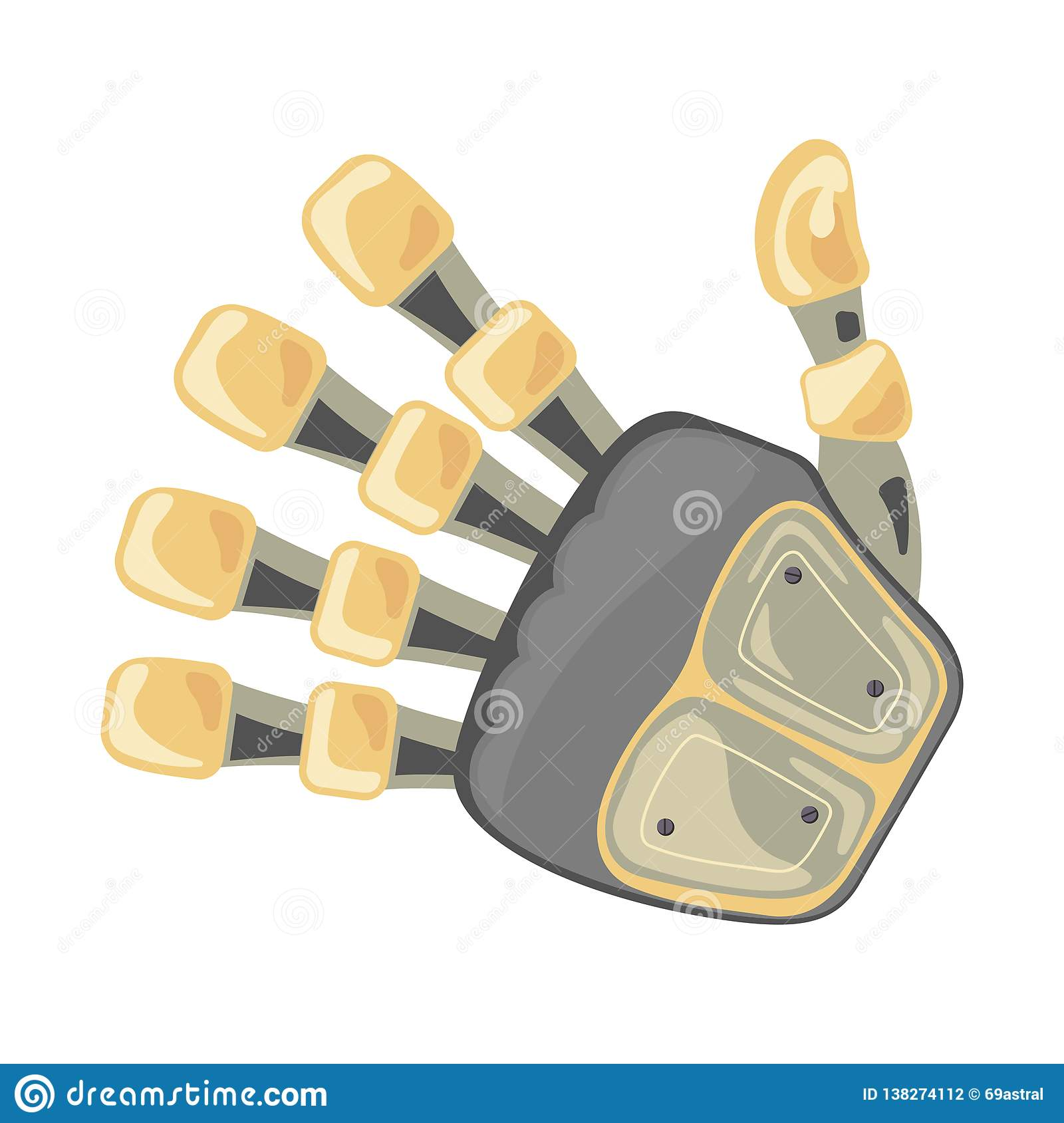 Robot hand. Mechanical technology machine engineering symbol. Hand gestures. Five number. Fifth. Futuristic design.