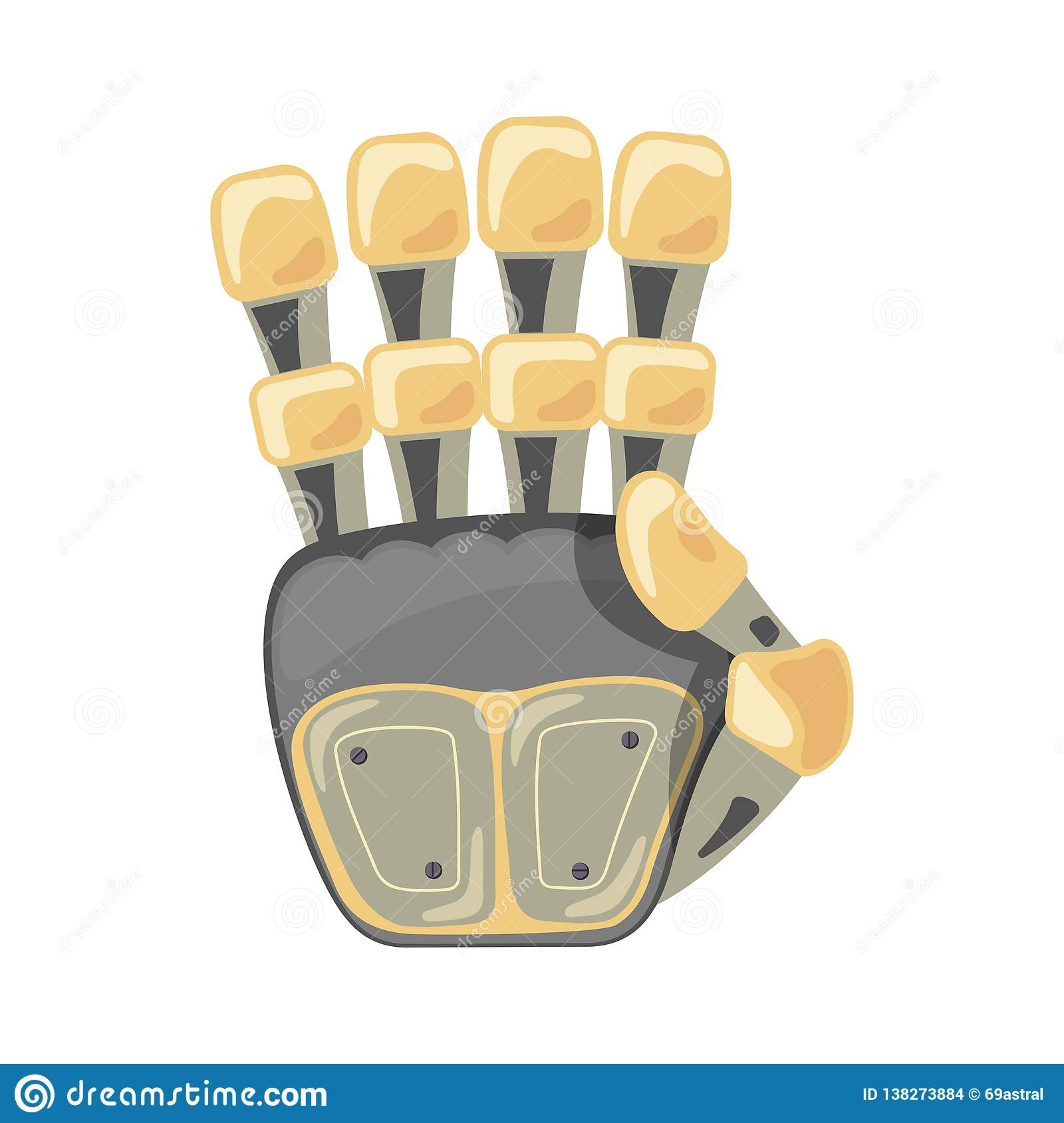 Robot hand. Mechanical technology machine engineering symbol. Hand gestures. Four number. Fourth. Futuristic design.