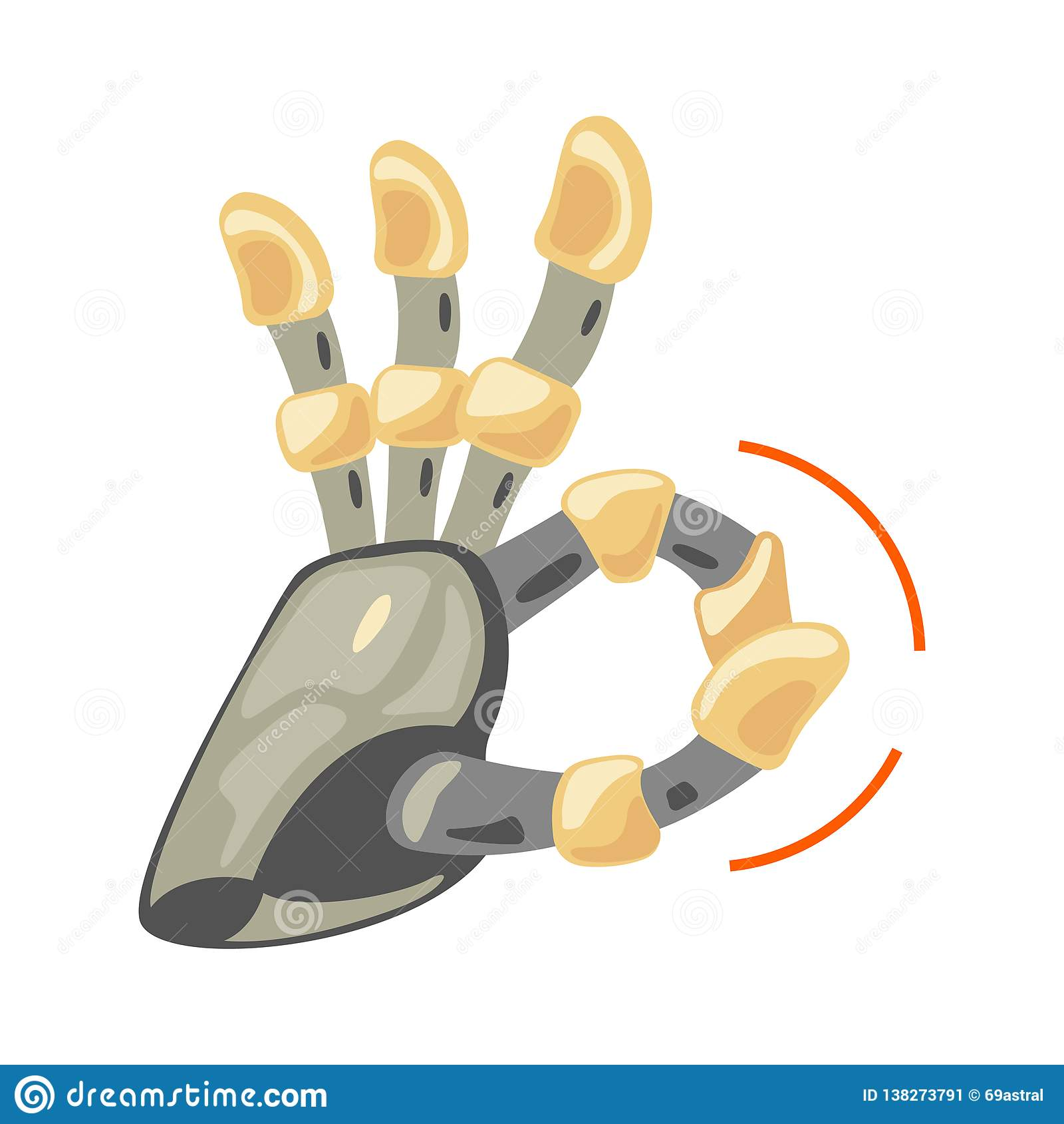 Robot hand. Mechanical technology machine engineering symbol. Hand gestures. Ok. Cool sign. Good sign. Peace. Excellent.