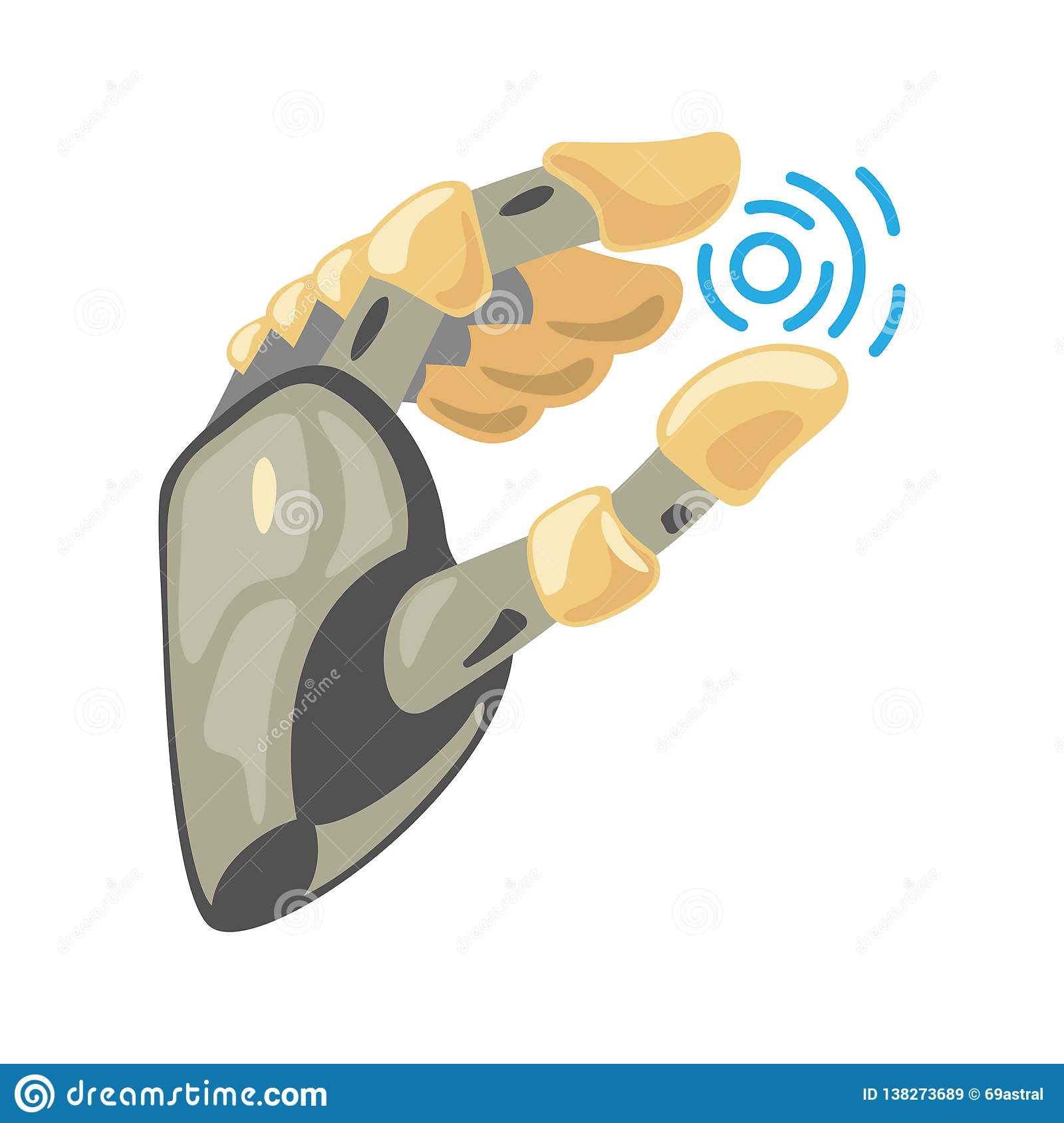 Robot hand. Mechanical technology machine engineering symbol. Hand gestures. Take sign. Energy between fingers.