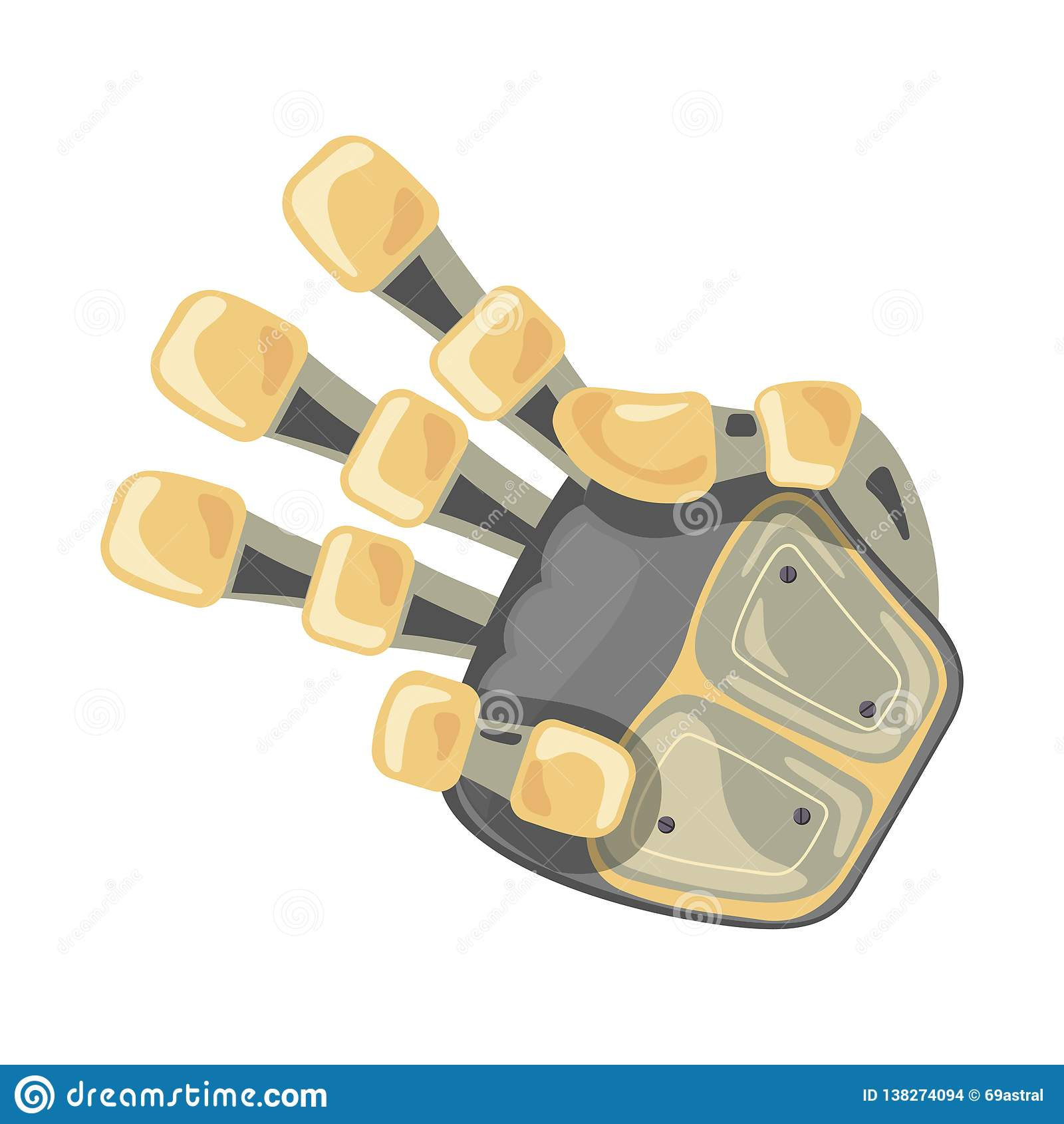 Robot hand. Mechanical technology machine engineering symbol. Hand gestures. Three. Pointer. Third. Futuristic design.