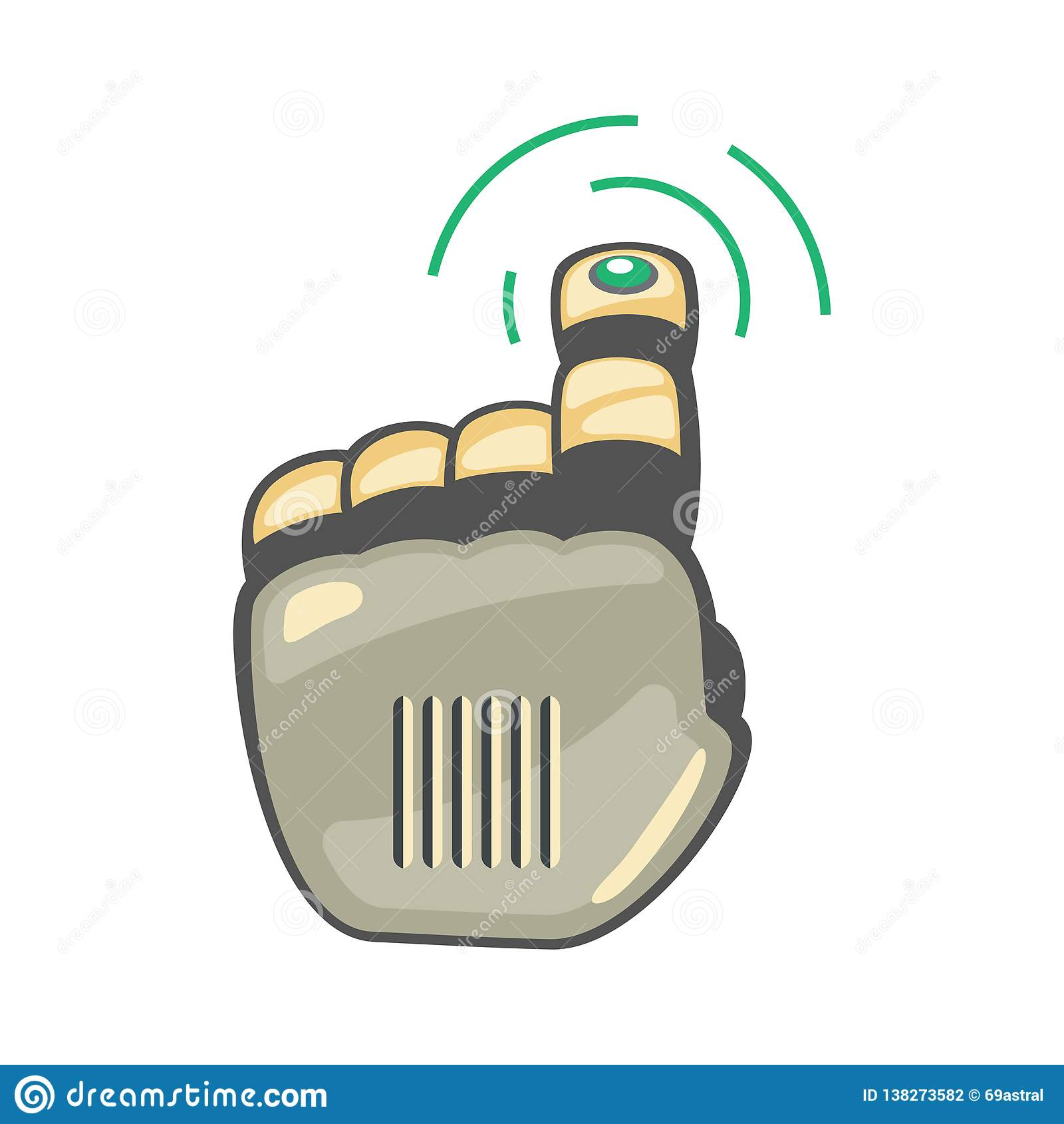 Robot hand. Mechanical technology machine engineering symbol. Hand gestures. Up. Pointer. Press sign. Futuristic design.