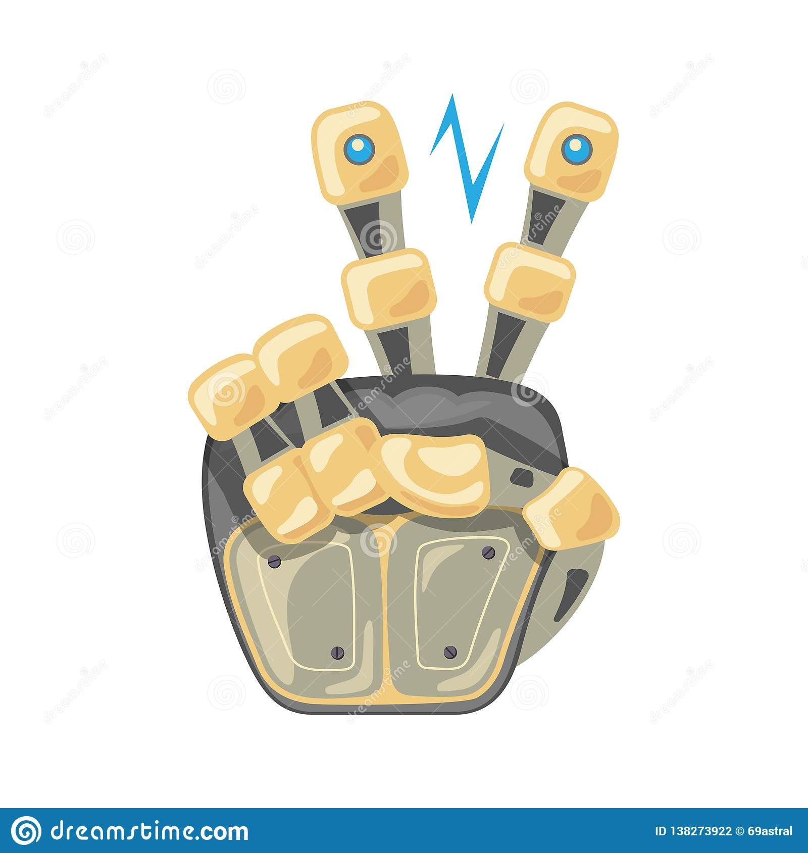 Robot hand. Mechanical technology machine engineering symbol. Two number. Pointer. Second. Peace. Energy between fingers