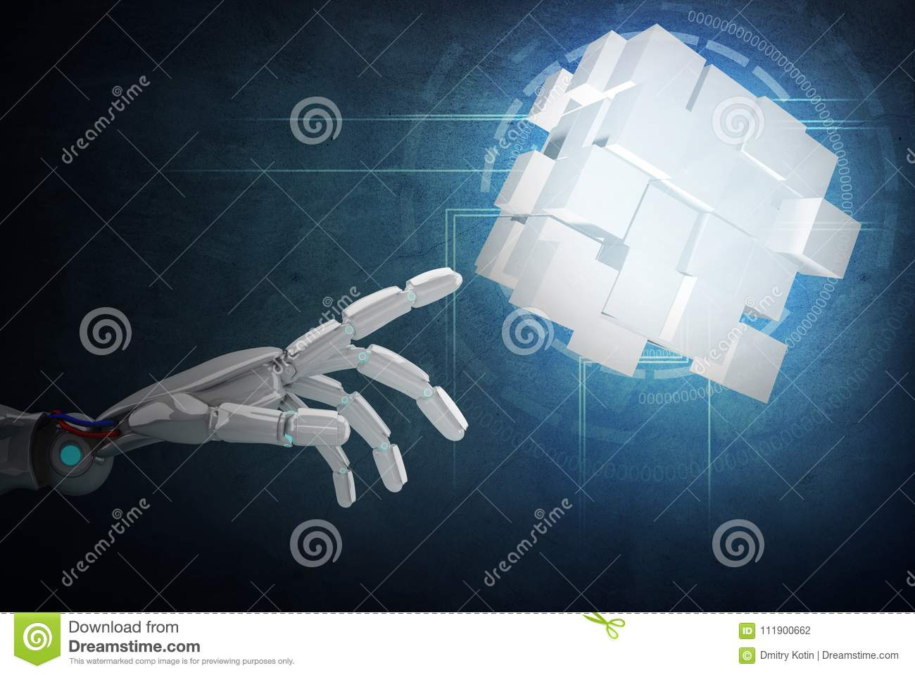 Robot Hand Point On Construction From Cubes  3d Rendering
