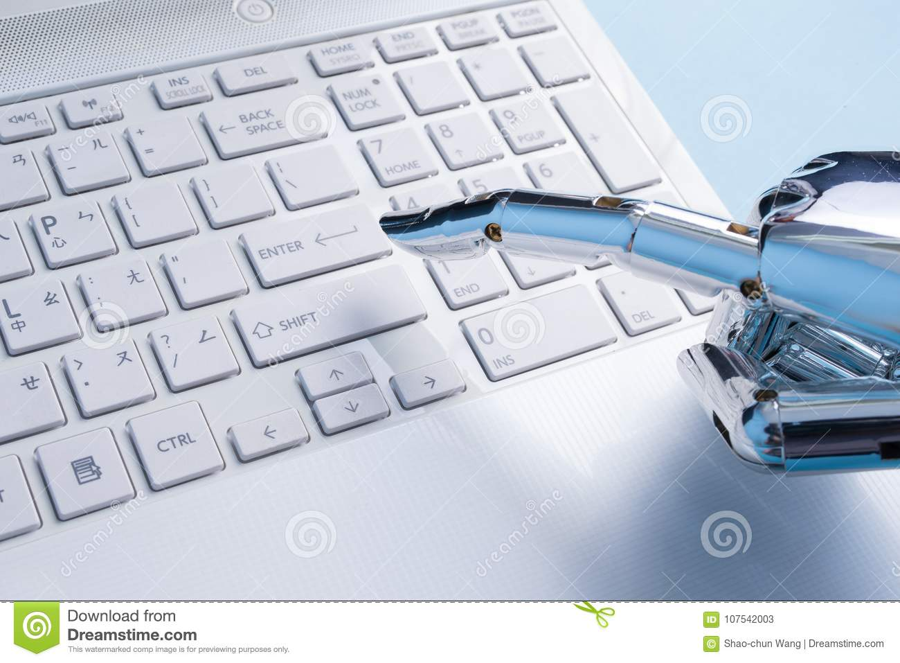 Robot Hand Use Notebook Work Stock Image - Image of laptop