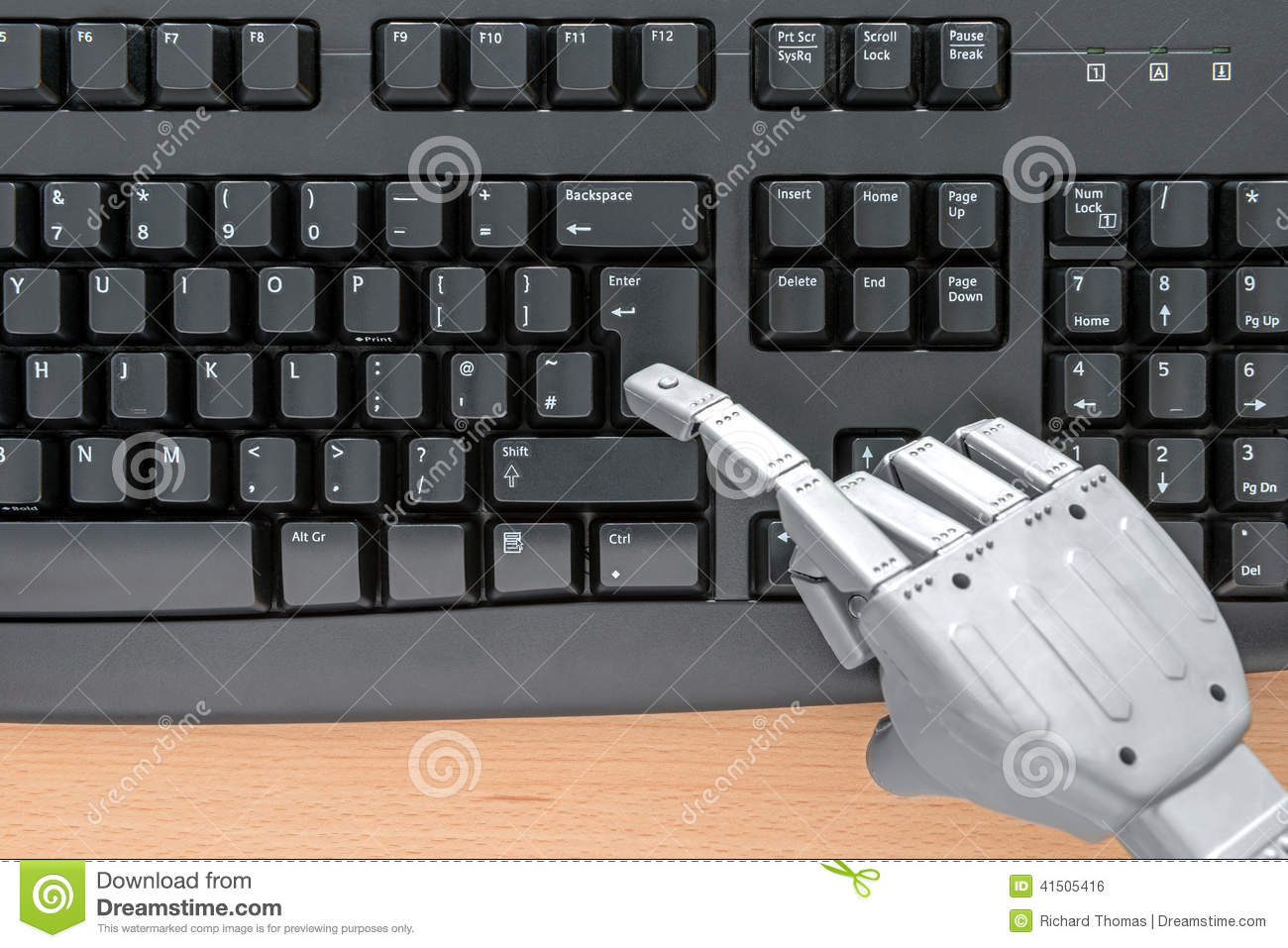 robot hand using a keyboard stock photo image 41505416. Black Bedroom Furniture Sets. Home Design Ideas