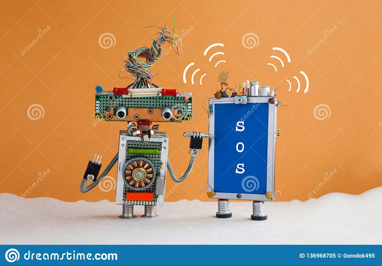 Robot handyman and broken smartphone message SOS. Robot serviceman with a screwdriver wants to fix the phone. Orange