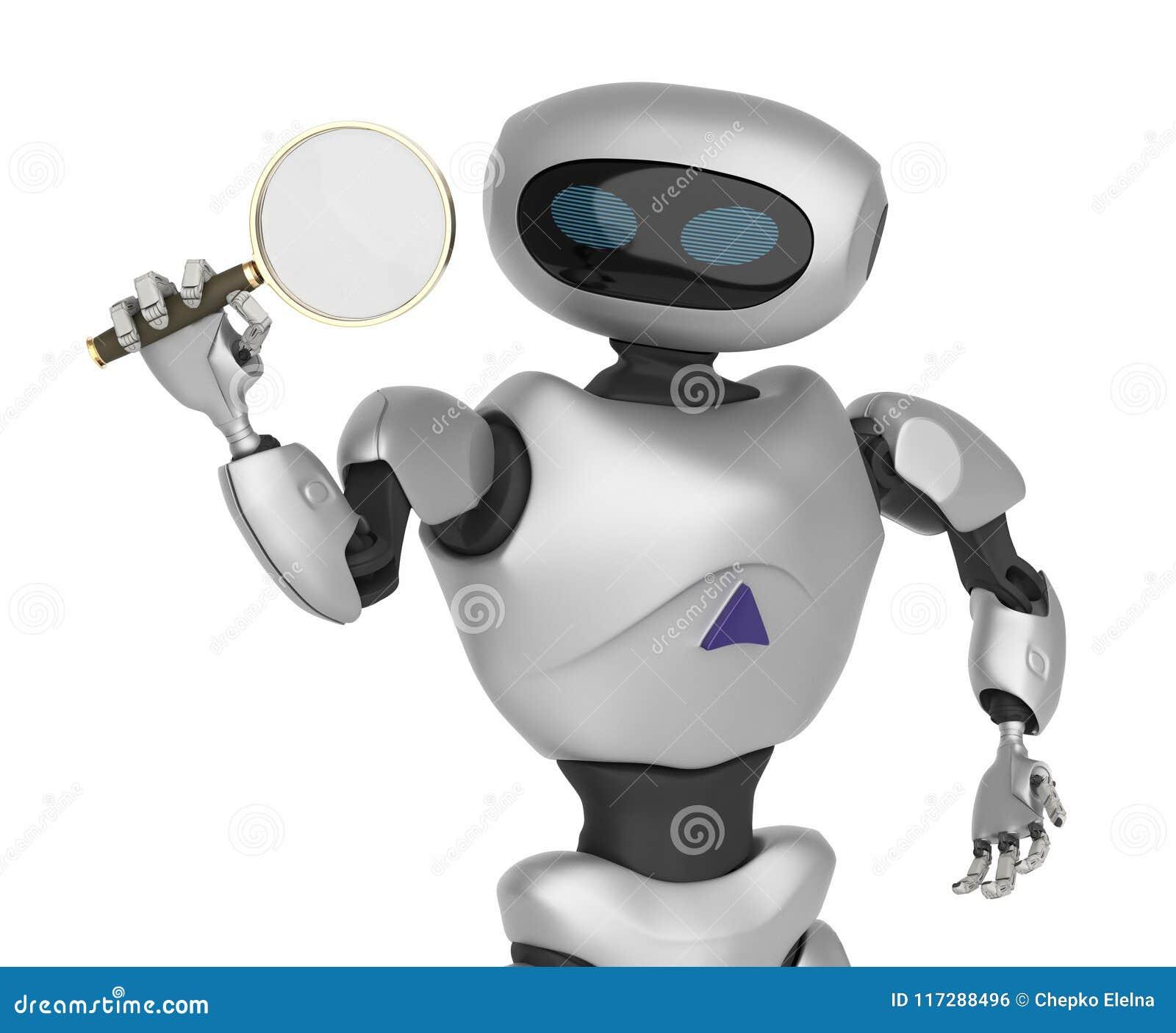 Robot het Moderne kijken door een vergrootglas innovatieve cybo