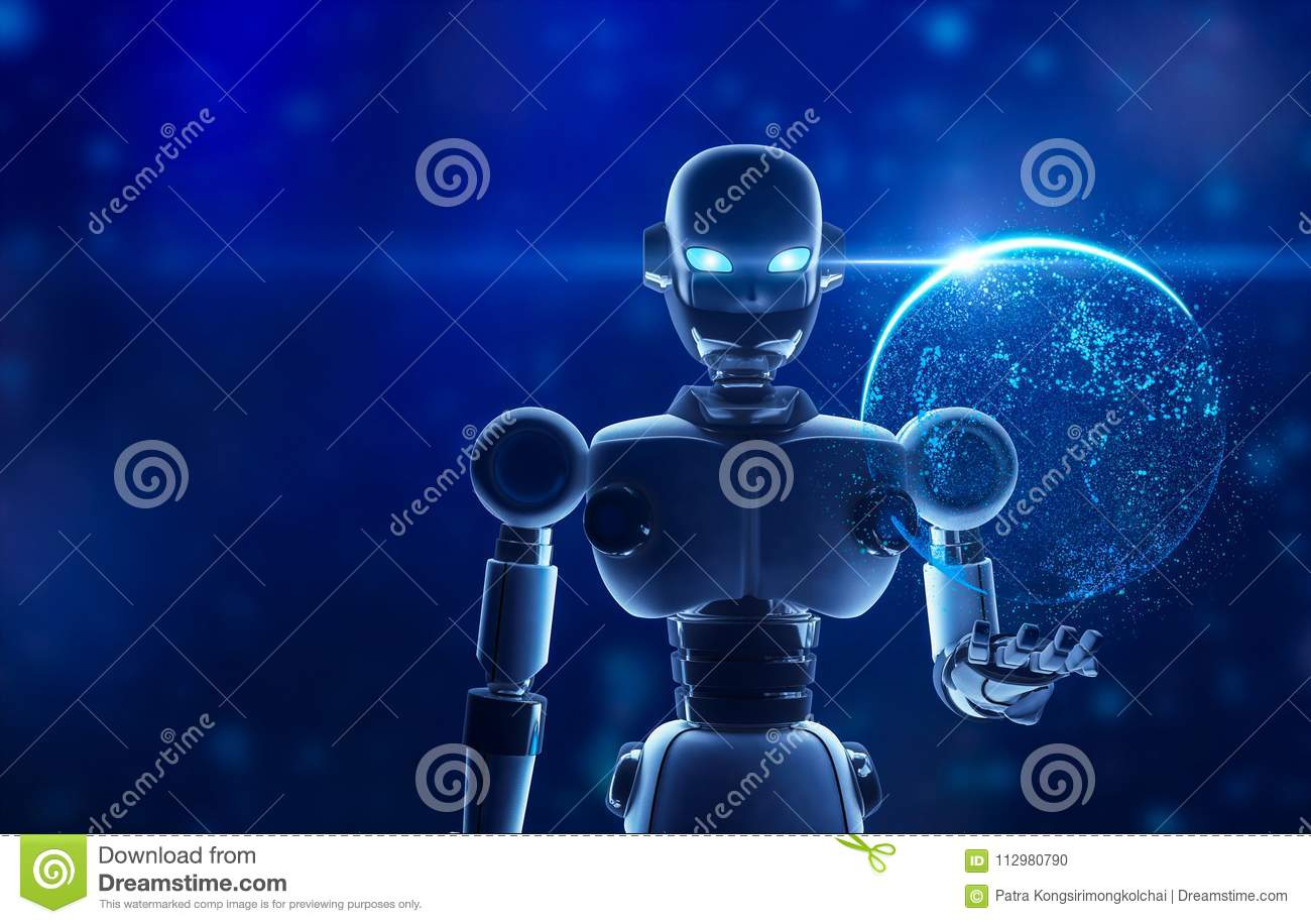 Robot holding the planet earth in virtual display