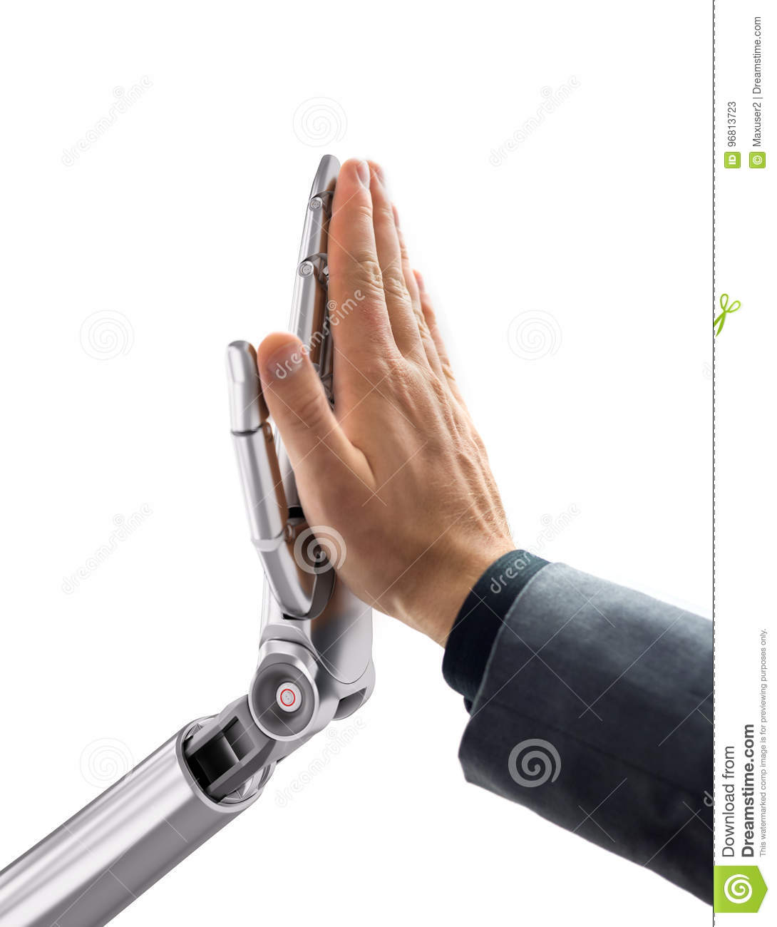 Robot and Human Giving a High Five. Artificial Intelligence Technology 3d Illustration