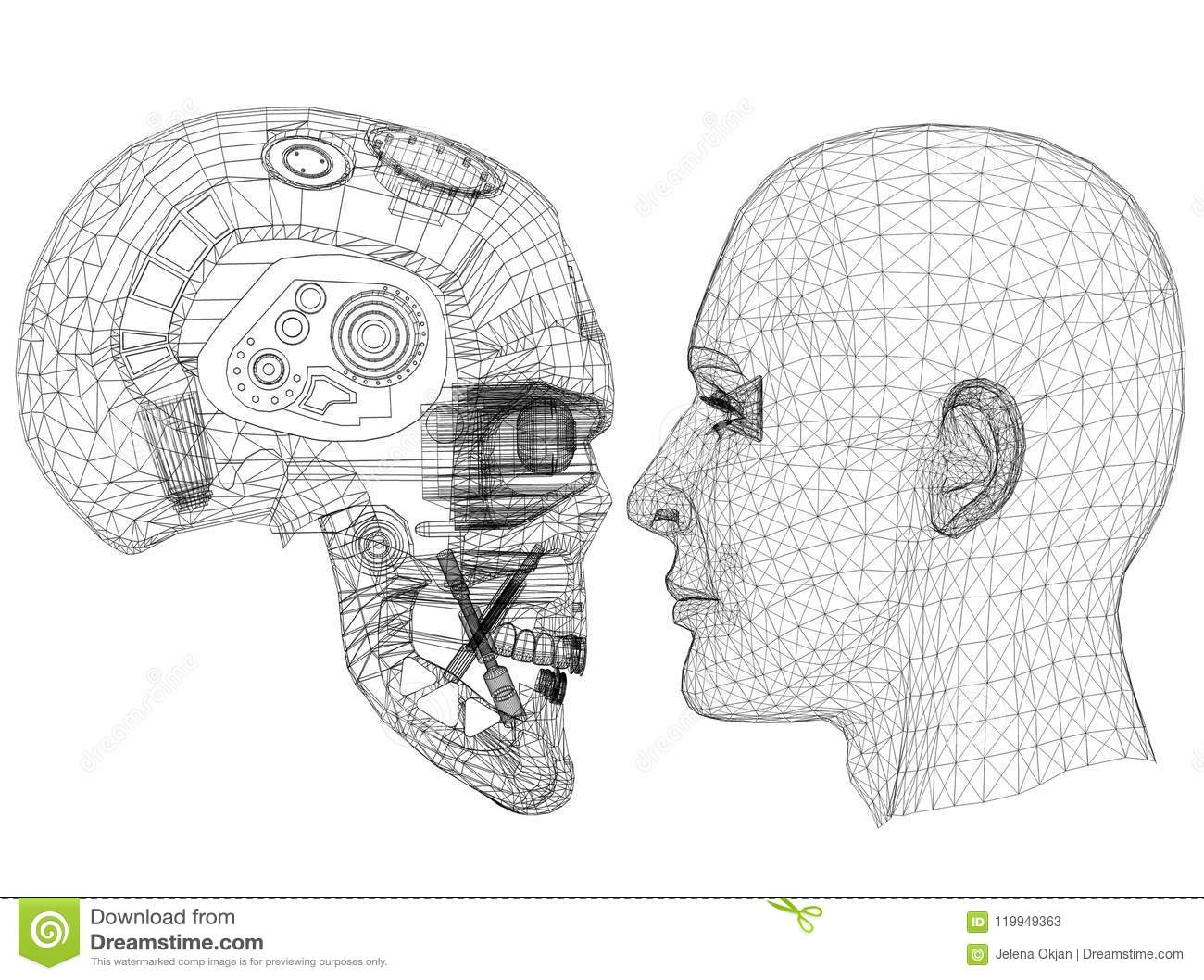 Robot and Human Head design - Architect Blueprint - isolated