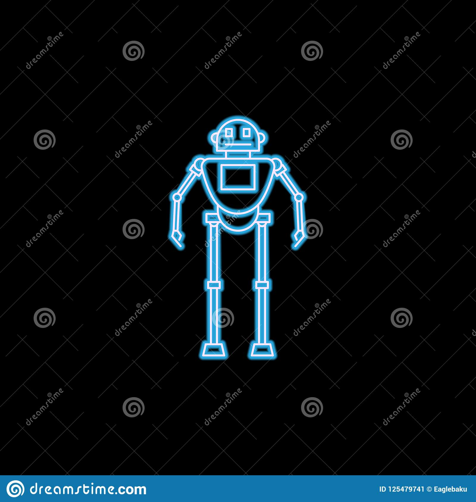 Robot Icon In Neon Style  One Of Robots Collection Icon Can