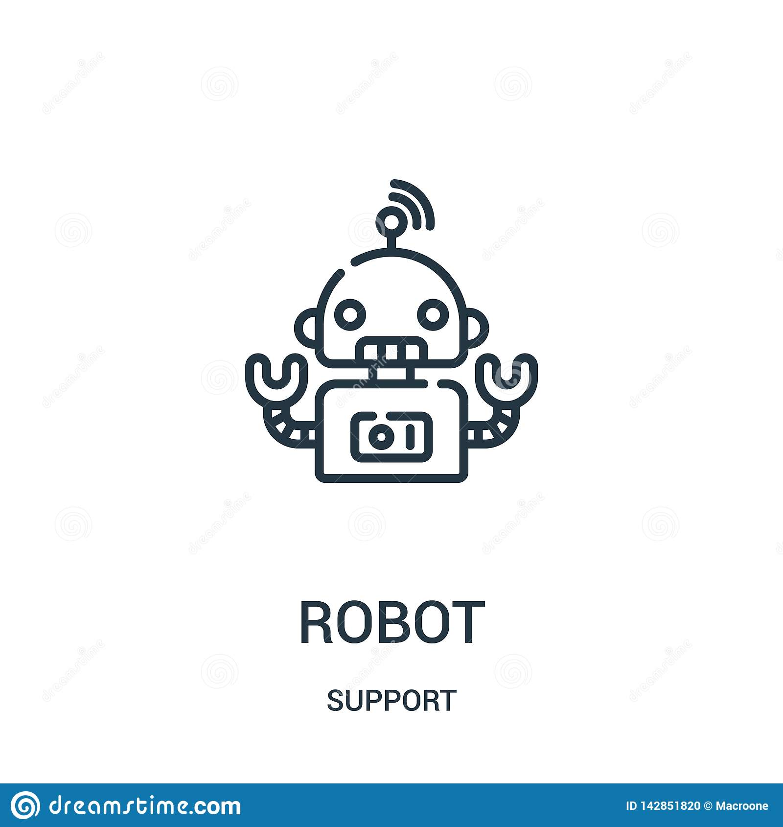 robot icon vector from support collection. Thin line robot outline icon vector illustration. Linear symbol for use on web and