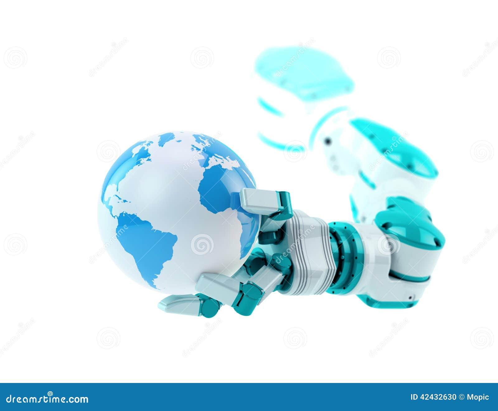 Robot industrial que sostiene un pequeño globo