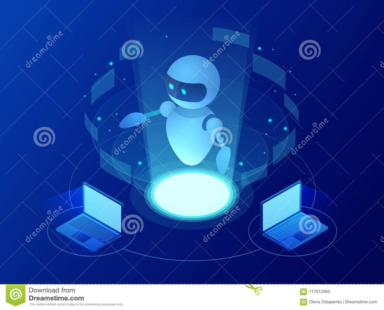 Robot isométrique apprenant ou résolvant le concept de problèmes Illustration de vecteur d affaires d intelligence artificielle s