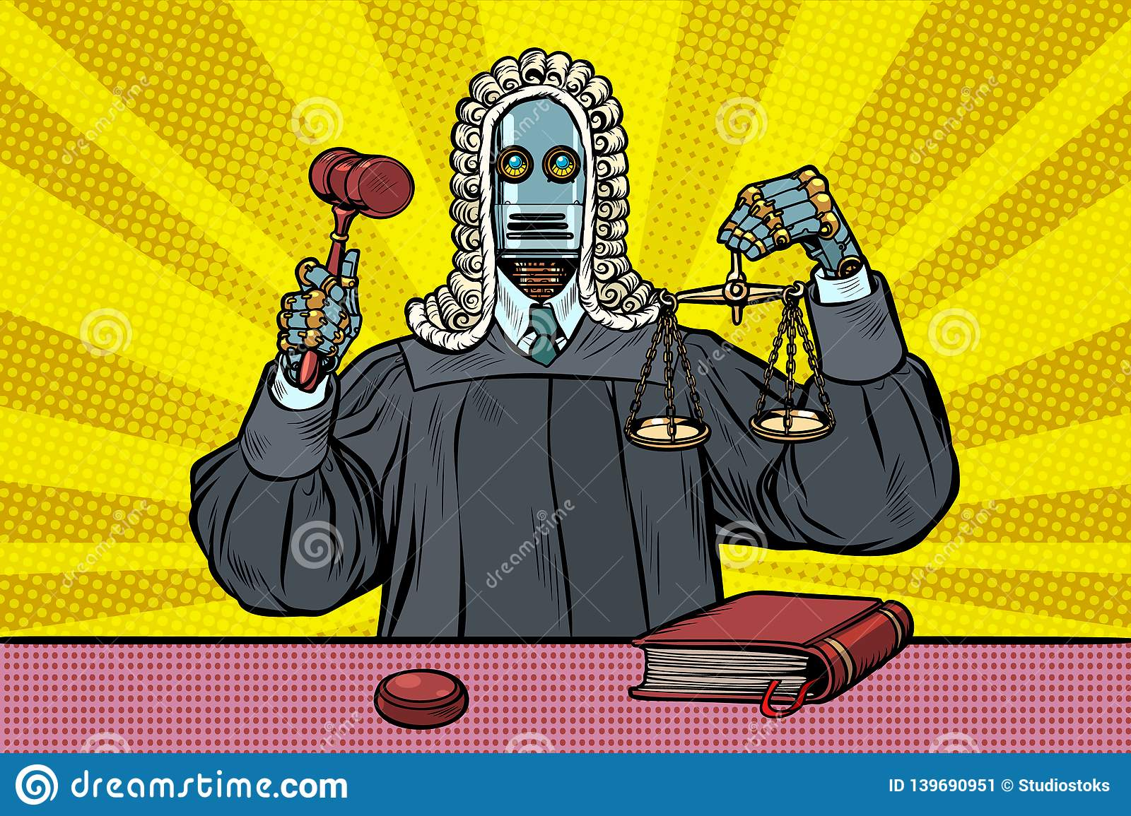 Robot judge in robes and wig