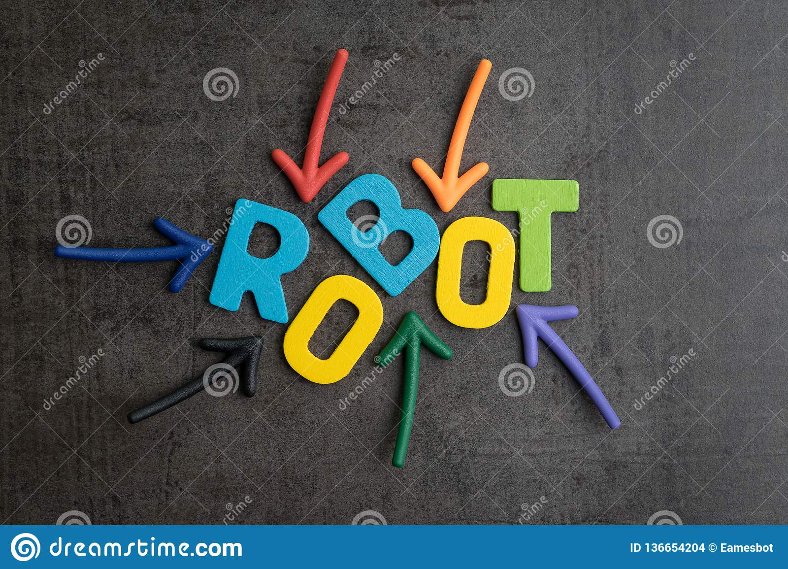 Robot of kunstmatige intelligentieconcept, veelvoudige pijl die aan kleurrijke alfabetten richten die de woordrobot bouwen op zwa