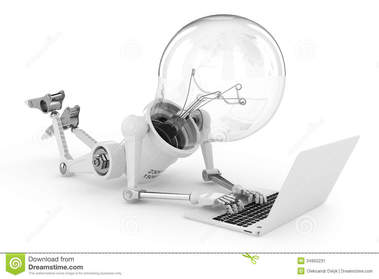 robot lamp working on a laptop stock image image 34955231