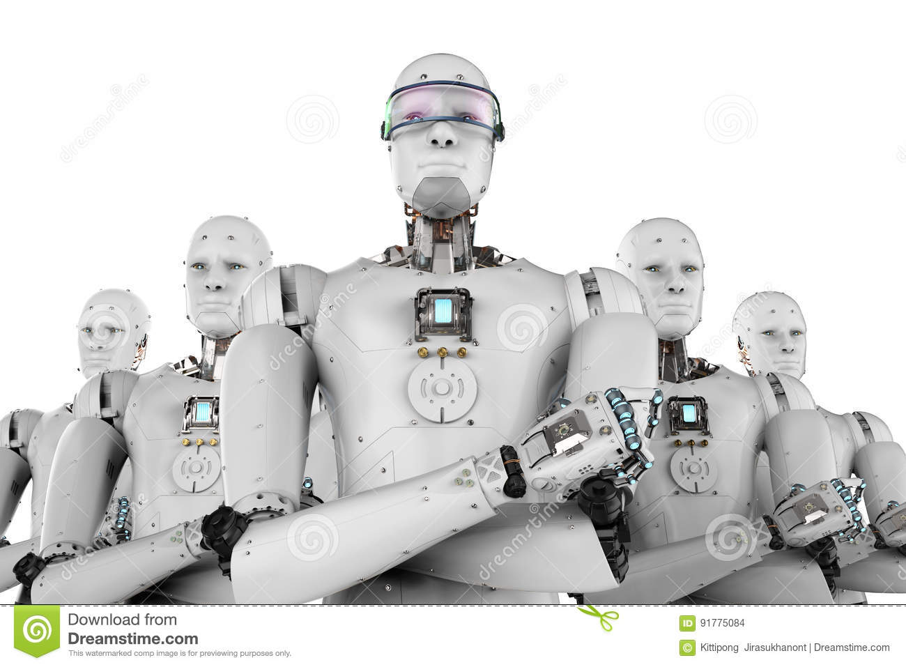 Robot leader with team