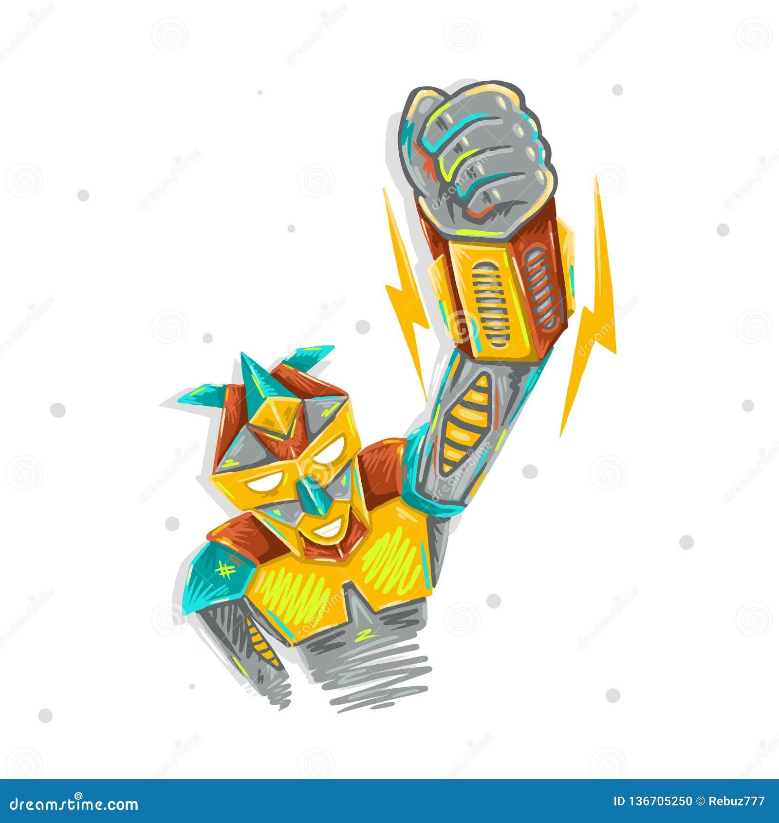 Robot lindo que agita con la impresión robótica del diseño del ejemplo para el dibujo de la mano del bosquejo del transformador d