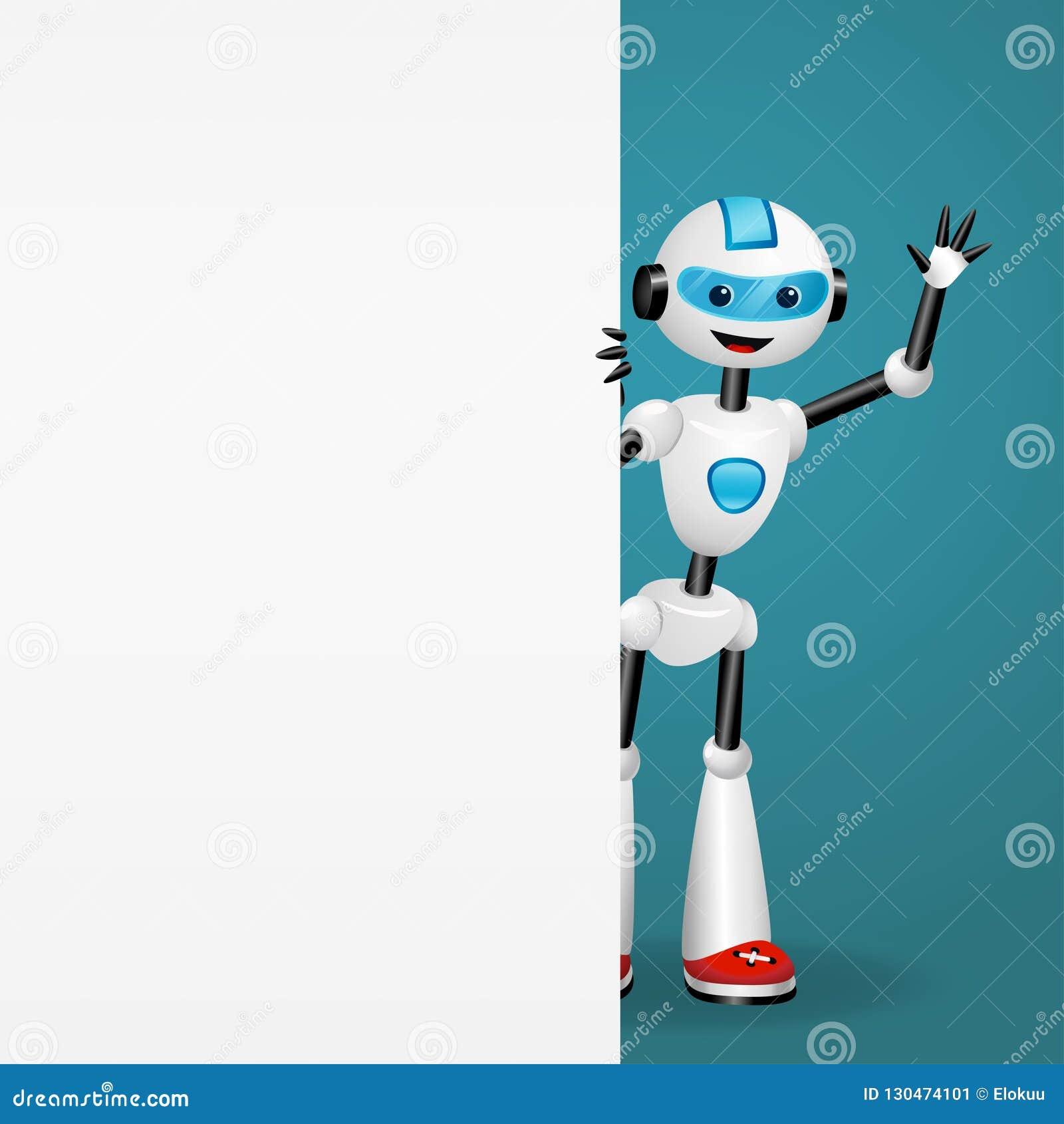 Robot lindo que mira hacia fuera de detrás un tablero blanco vacío y que renuncia la mano