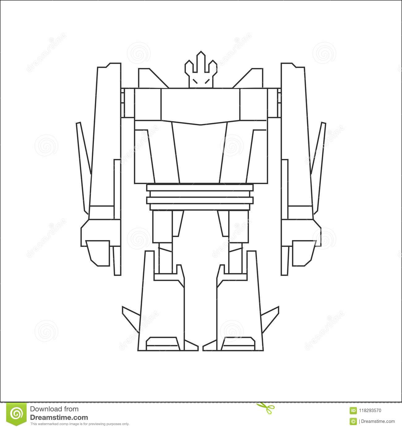 Robot Line Art Stock Vector Illustration Of Blue Clean 118293570 Roof Truss Diagram